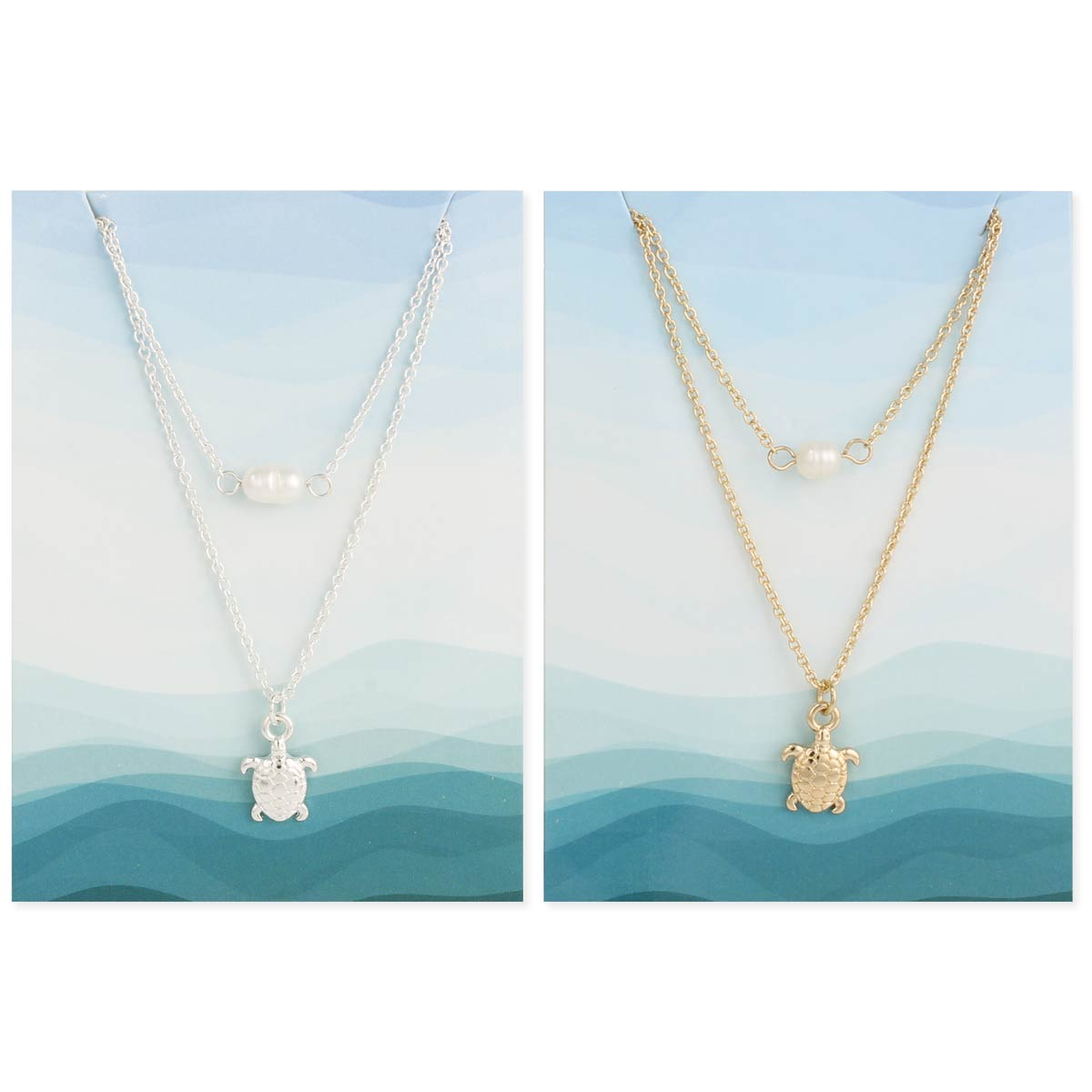 Turtle & Pearl Layer Necklace