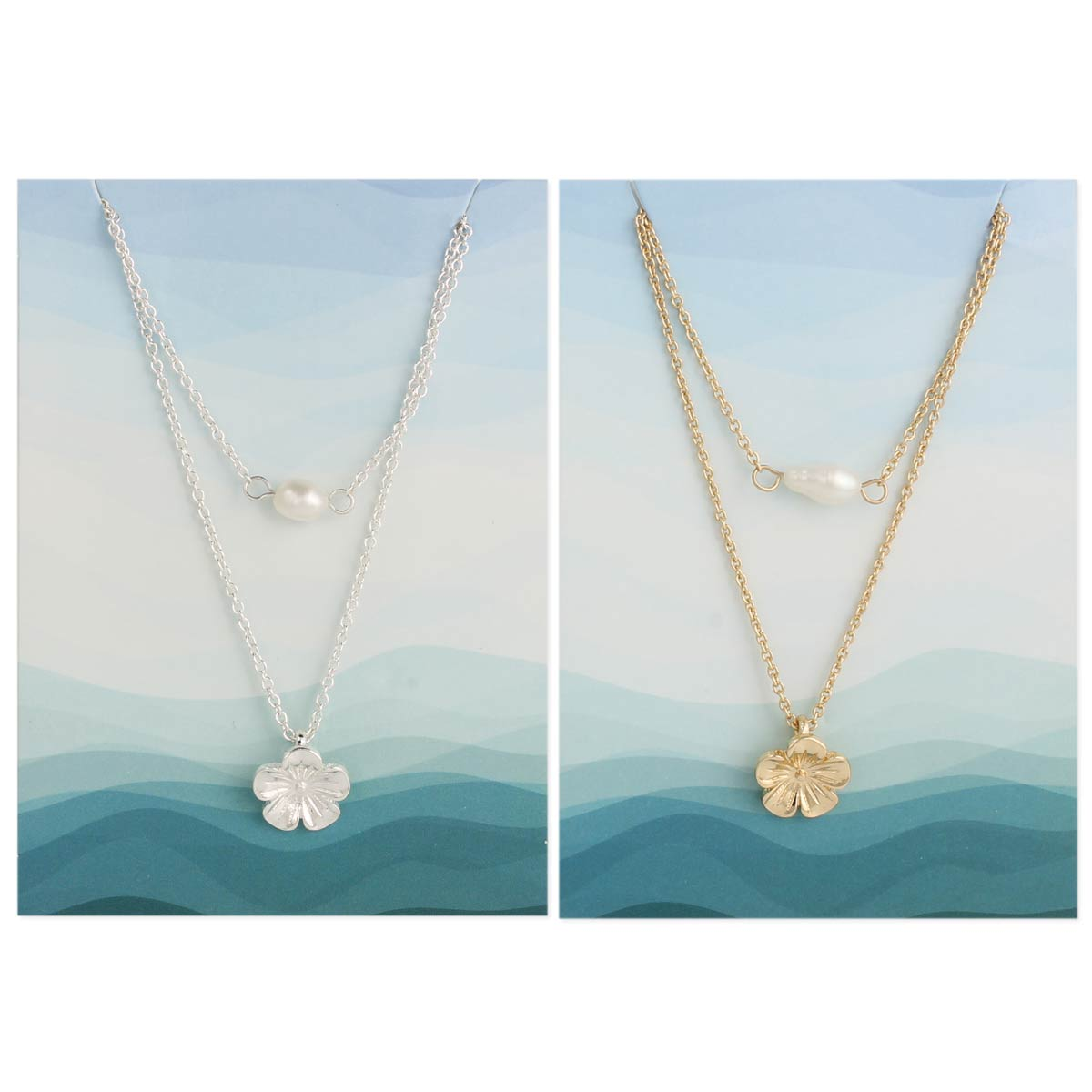 Flower & Pearl Layer Necklace