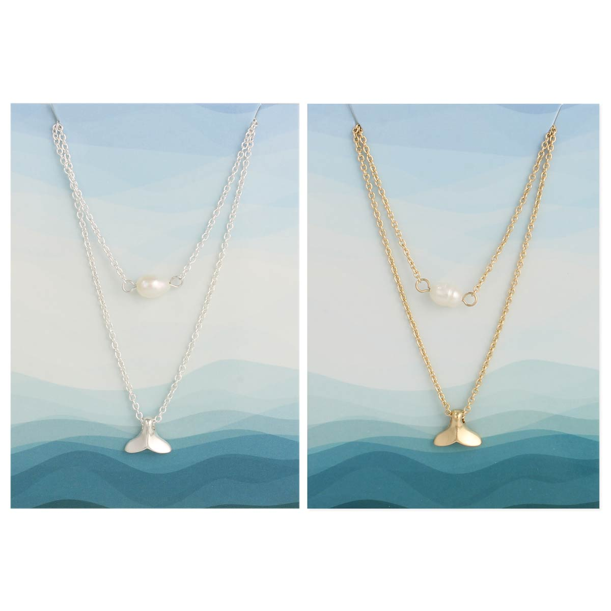 Carded Wave & Pearl Layer Necklace