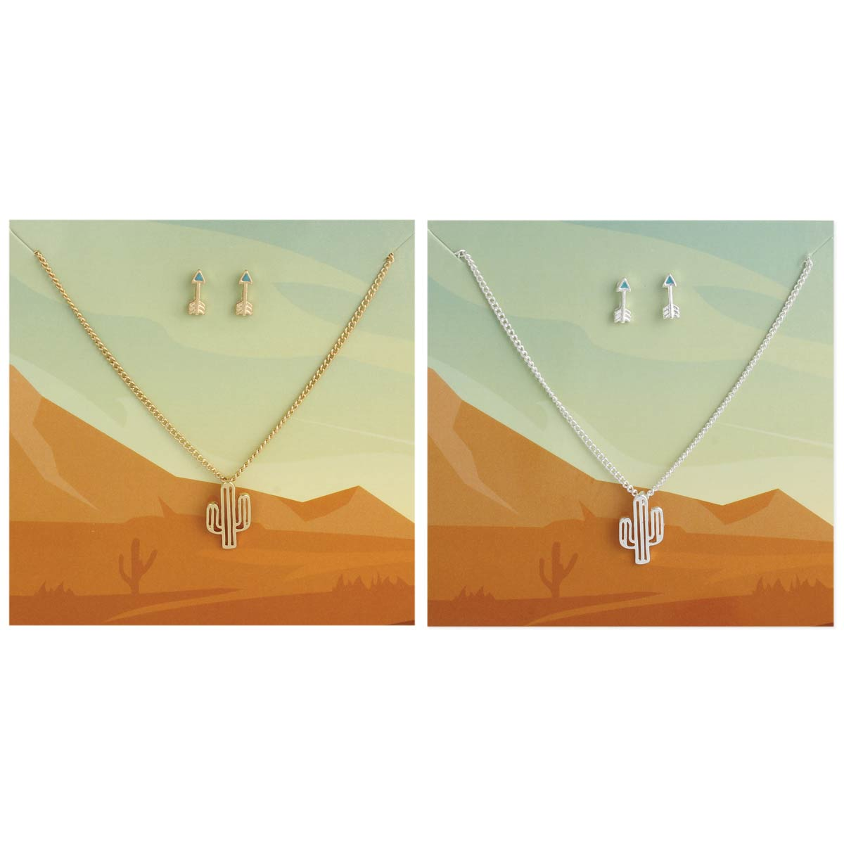 Carded Cactus Arrow Necklace Earring Set