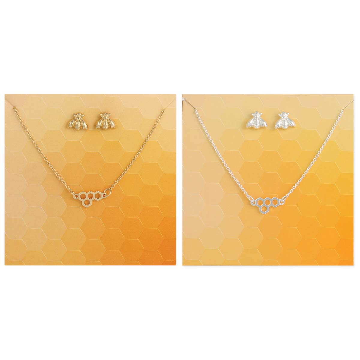 Carded Honeycomb Bee Necklace Earring Set