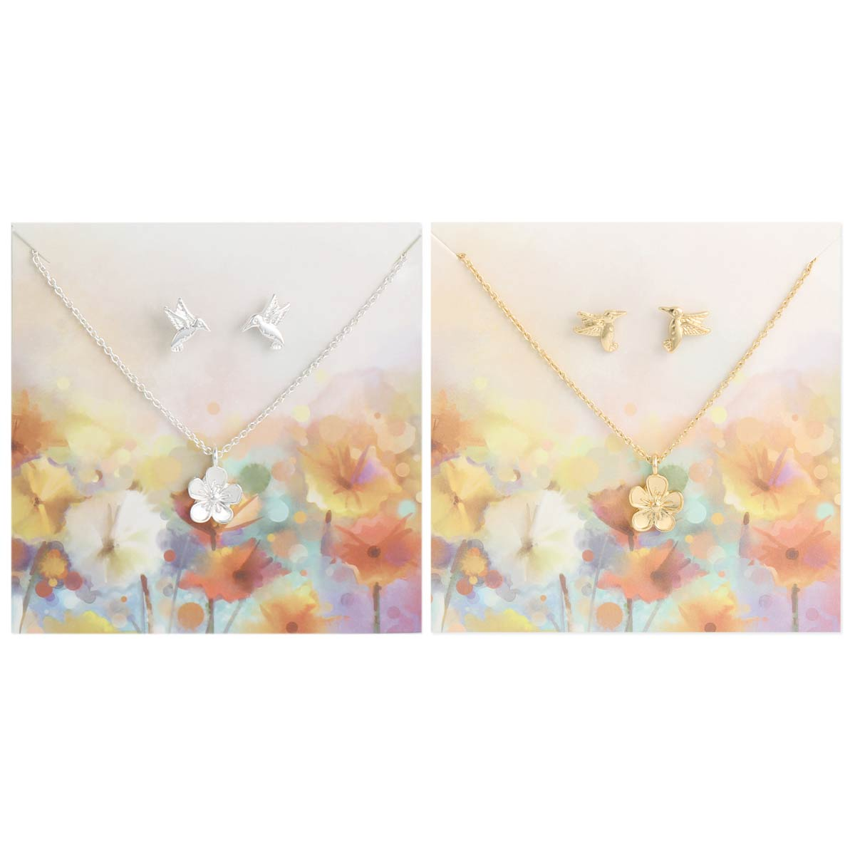 Carded Bird Flower Necklace Earring Set