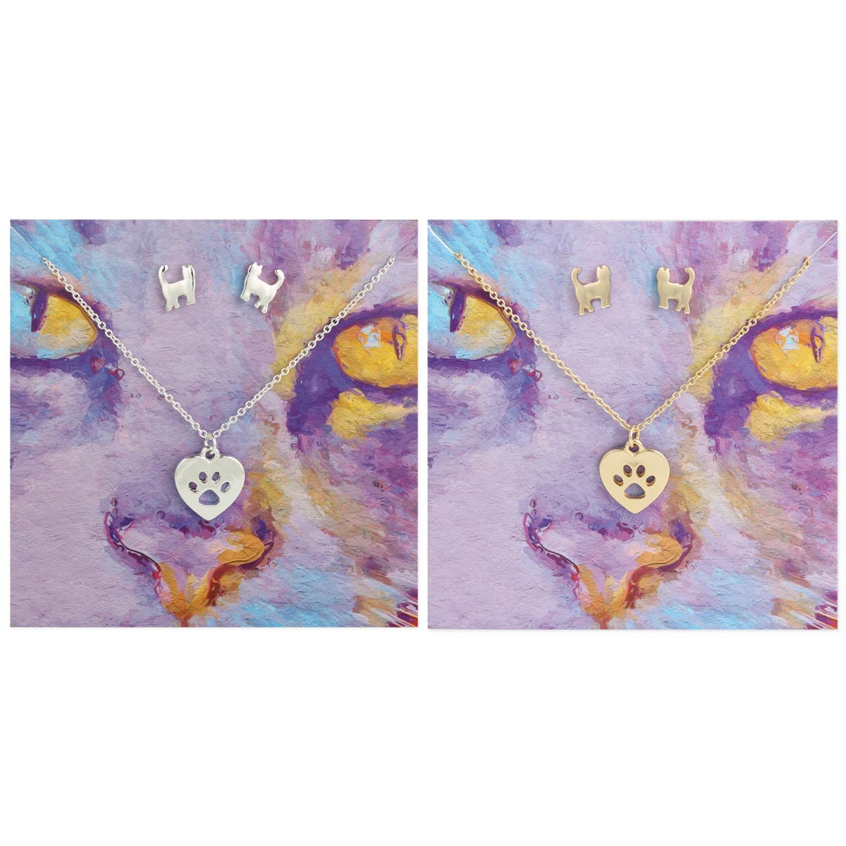Carded Cat Paw Necklace Earring Set