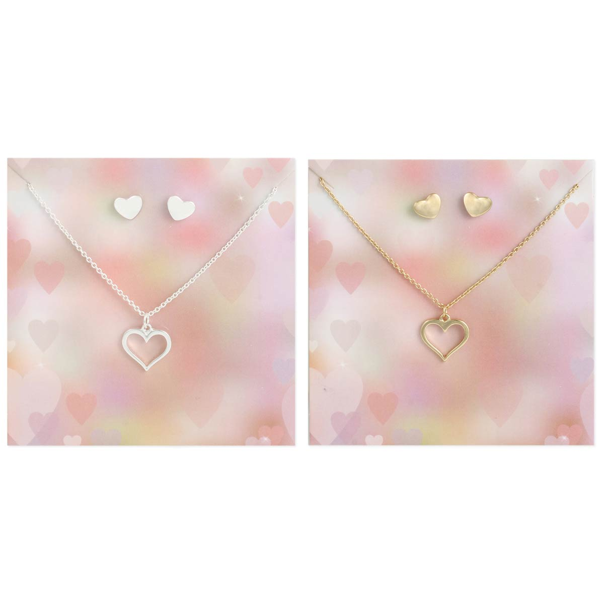 Carded Heart Necklace Earring Set
