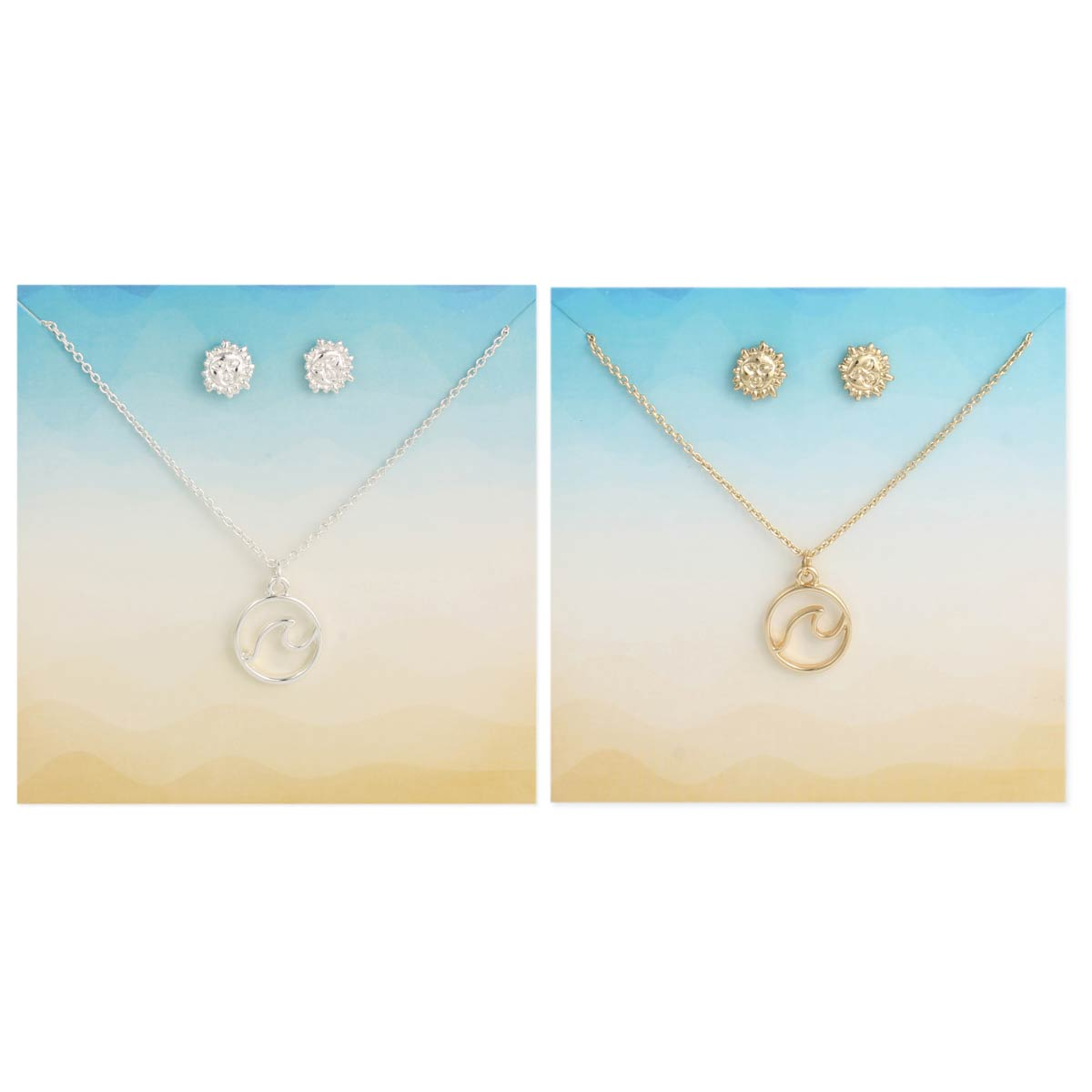 Carded Sun Wave Necklace Earring Set