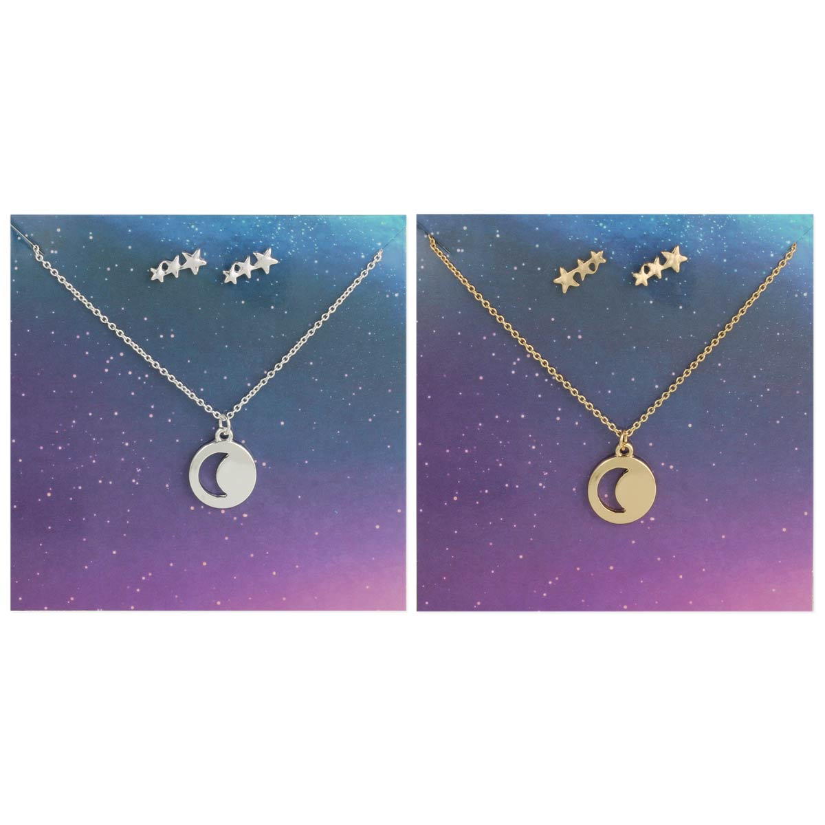 Carded Star & Moon Necklace Earring Set