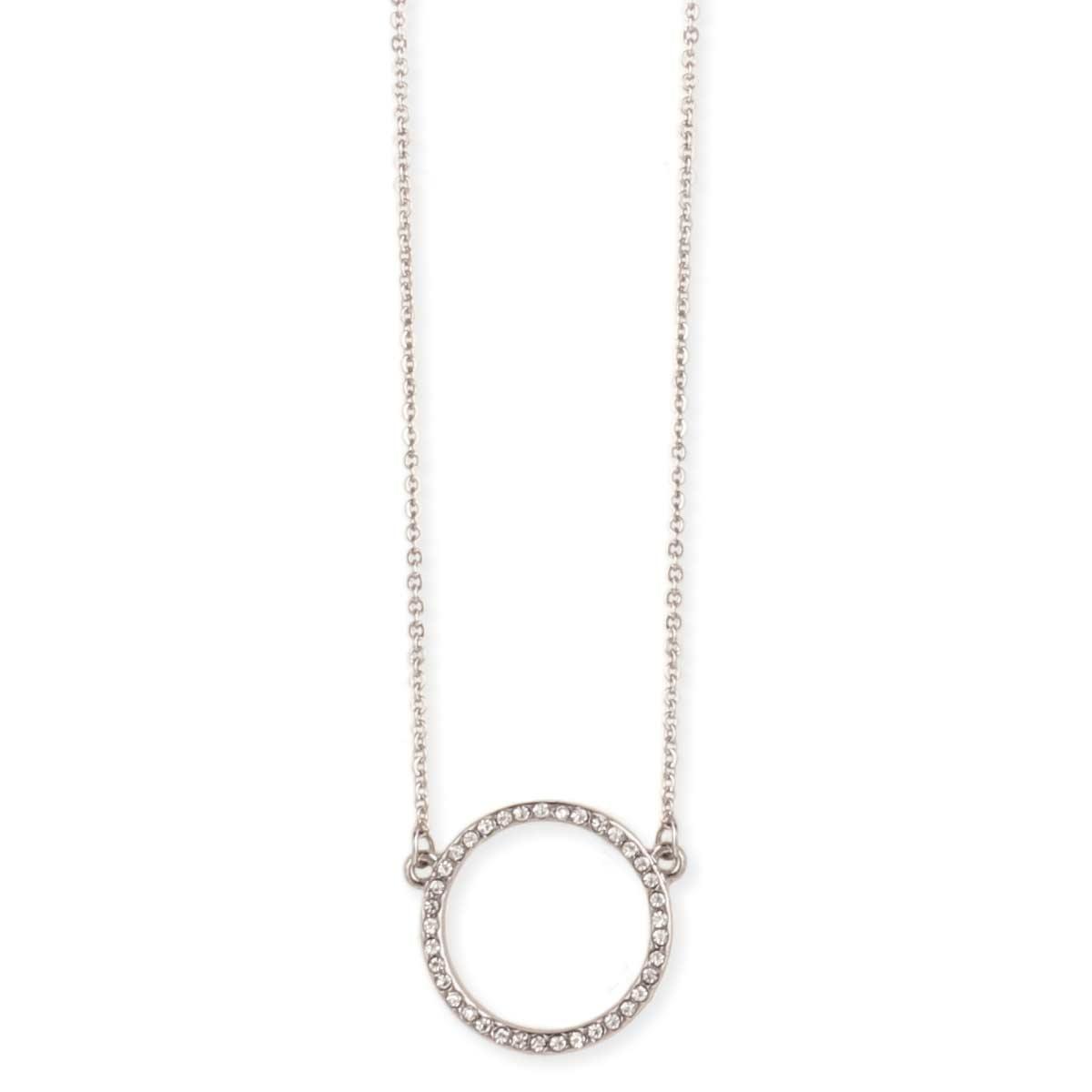 Silver Crystal Circle Pendant Necklace b2bbc7218