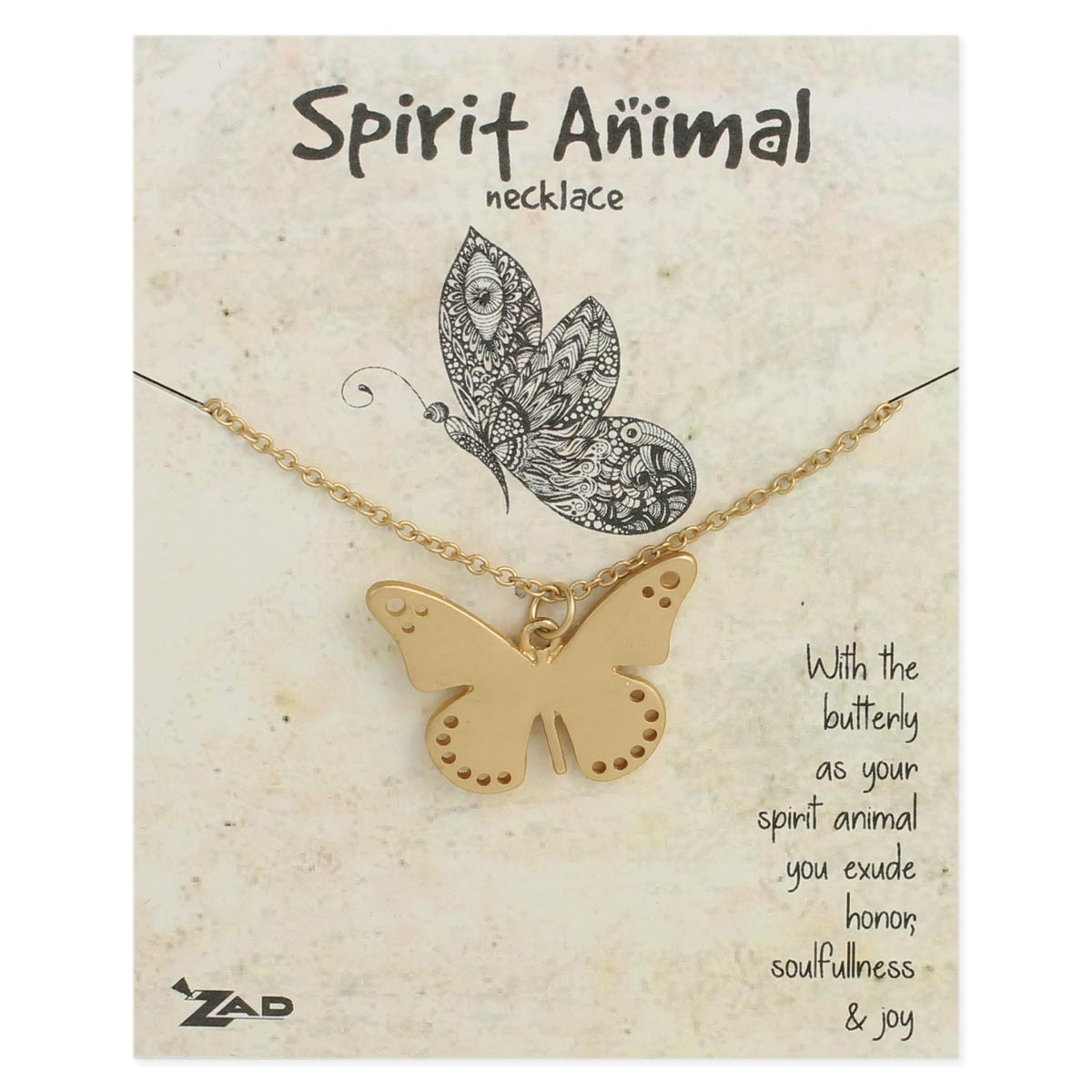 Gold Butterfly Necklace on Card