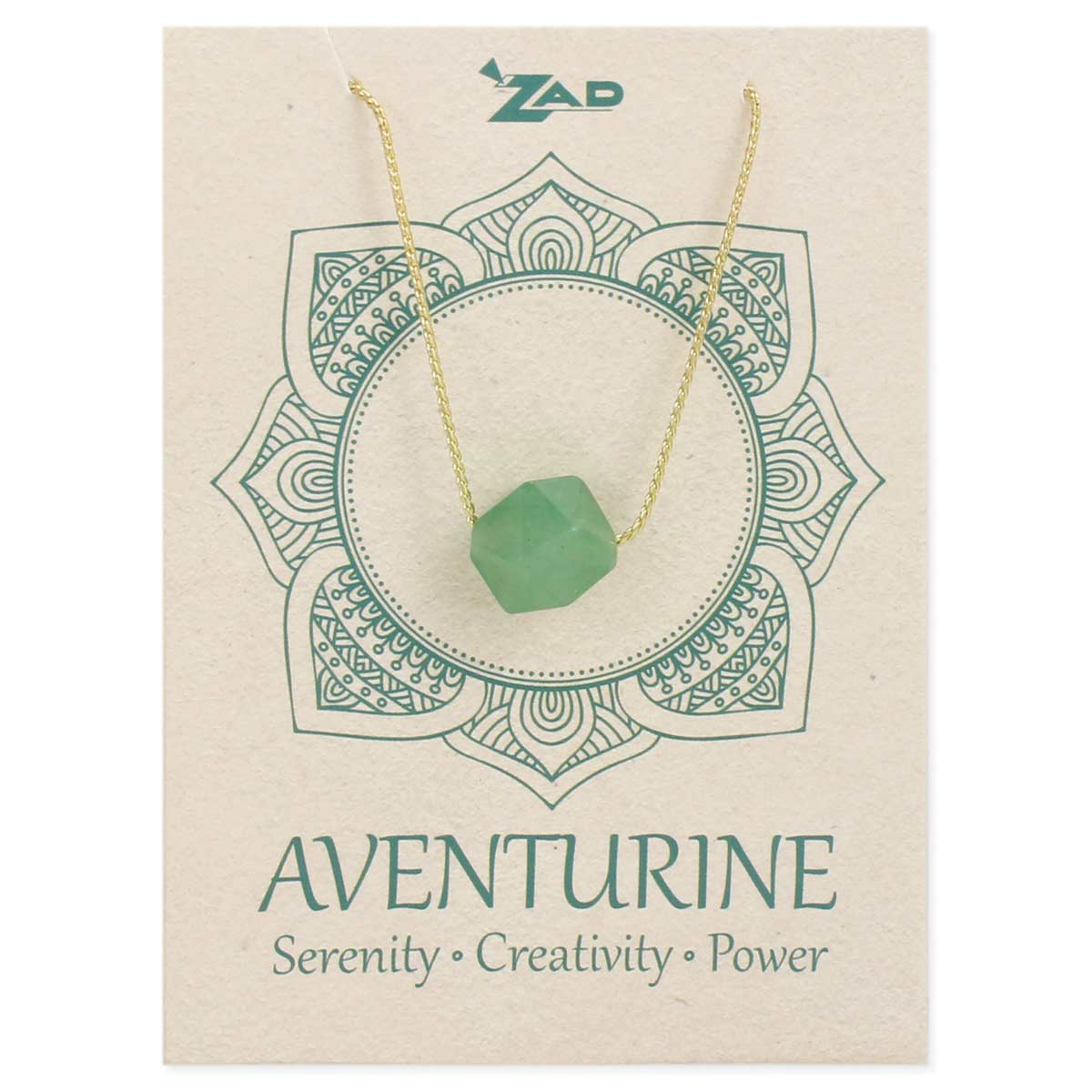 Facet Aventurine Stone Necklace on Card