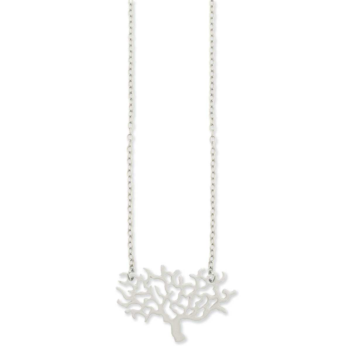 Small Silver Cutout Tree Pendant Necklace