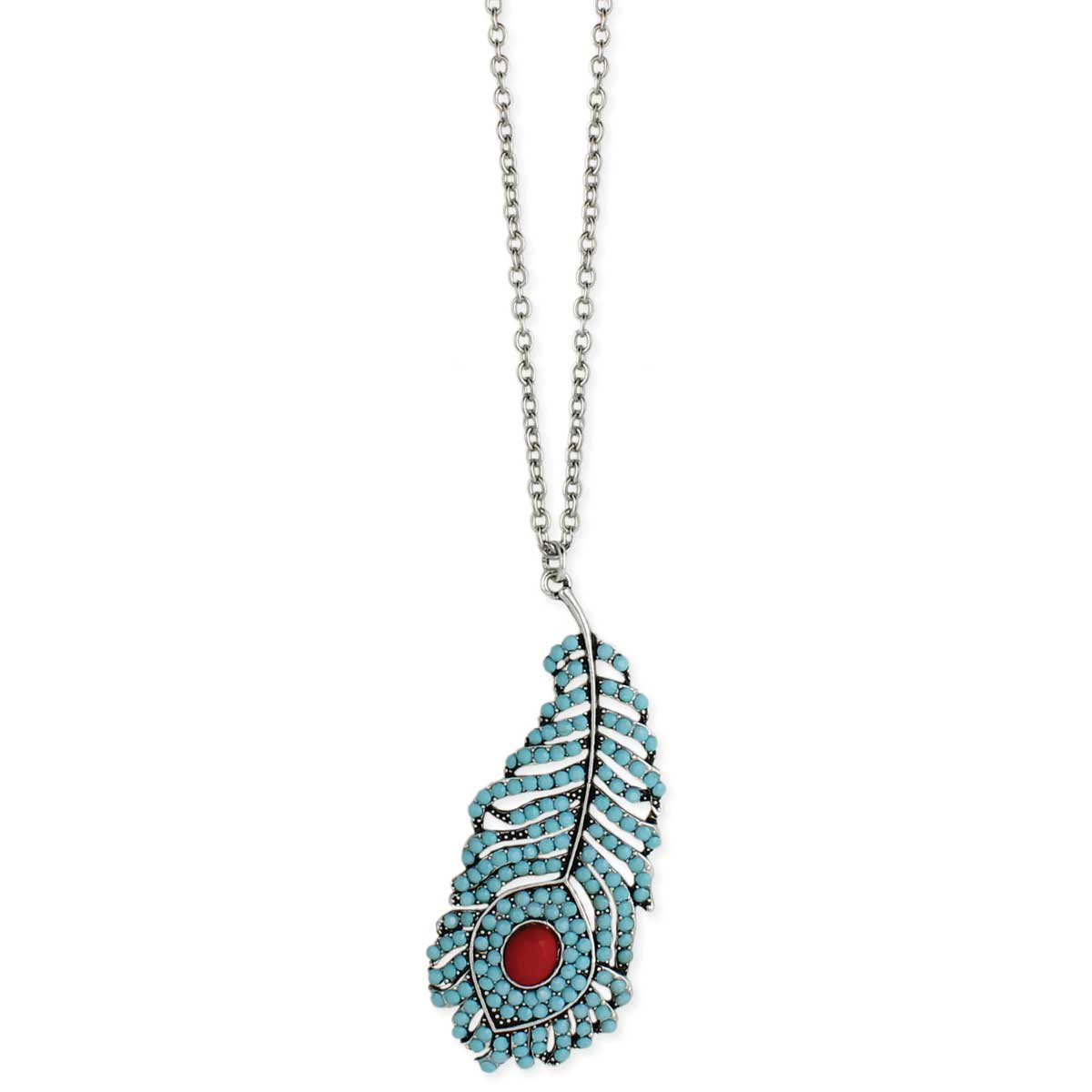 Turquoise Crystal Feather Long Necklace