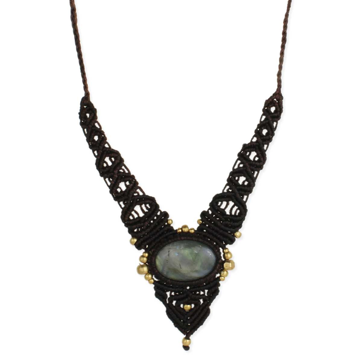 Black Cord & Labradorite Stone Pull Necklace