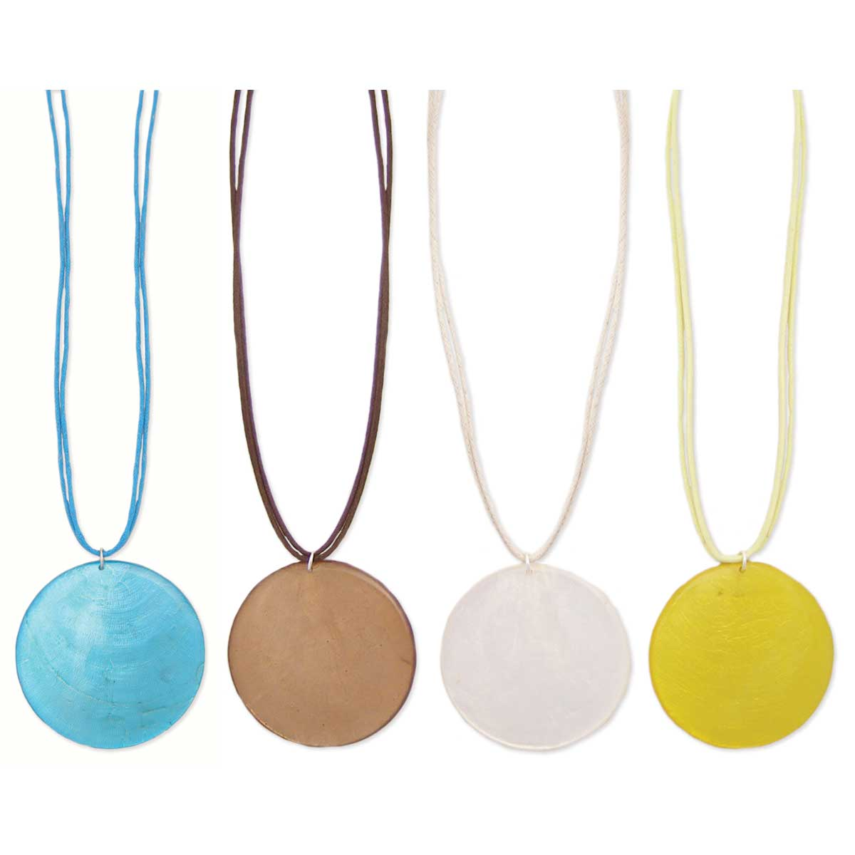 Round Shell Color Cord Necklace
