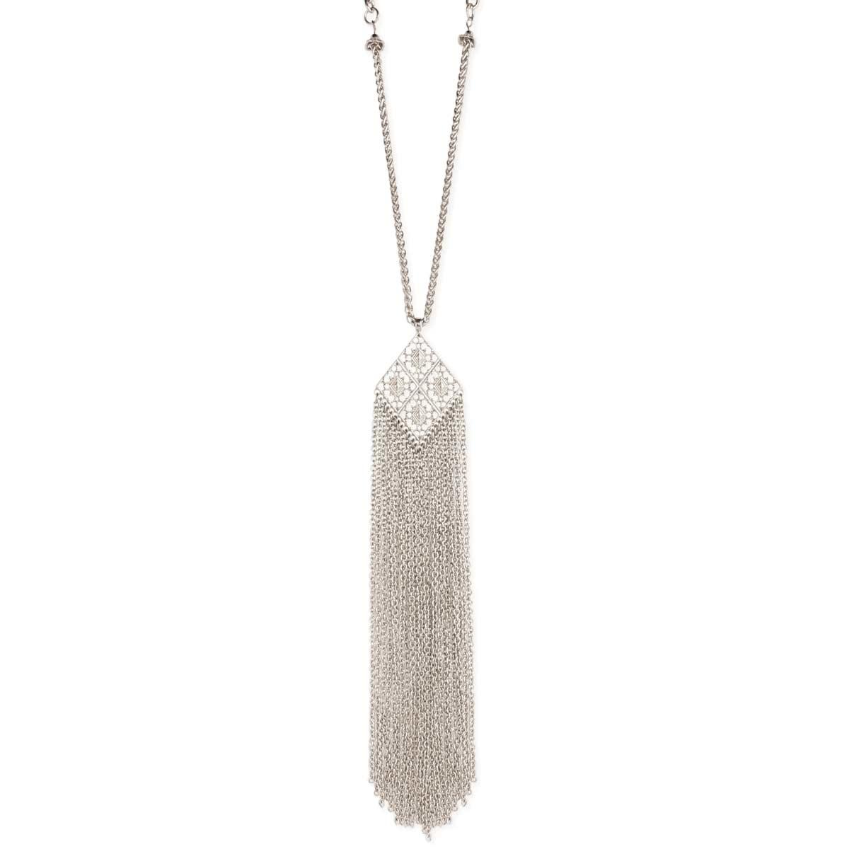 Silver filigree pendant tassel necklace aloadofball Image collections