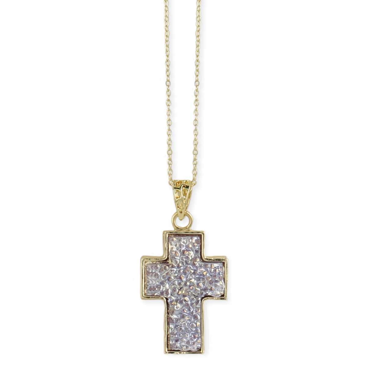 Faux Druzy Cross Pendant