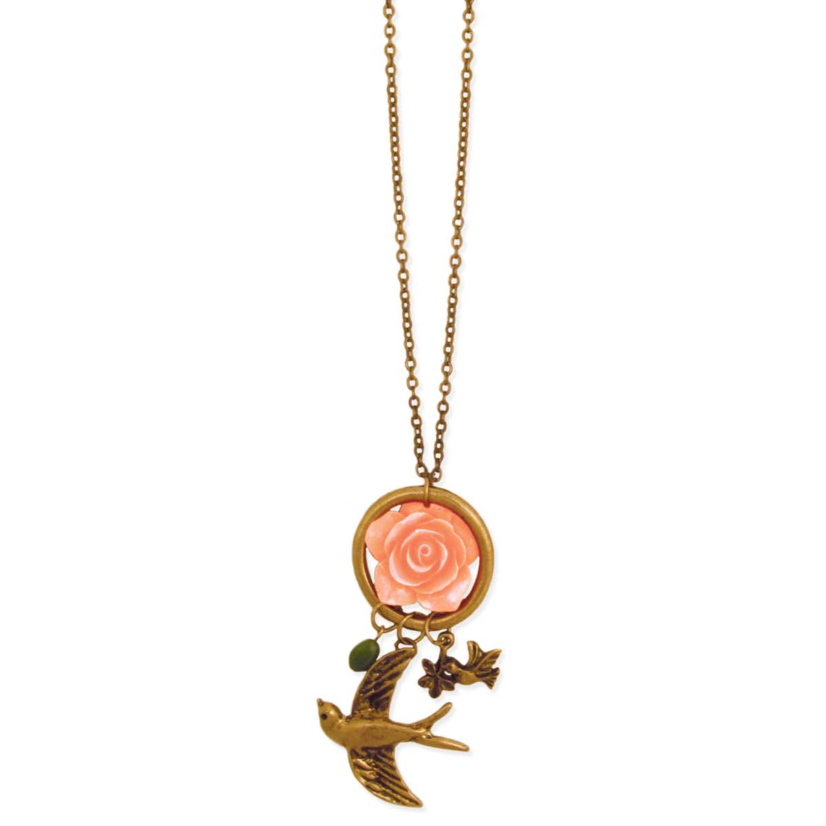 Gold Bird & Rose Fob Necklace