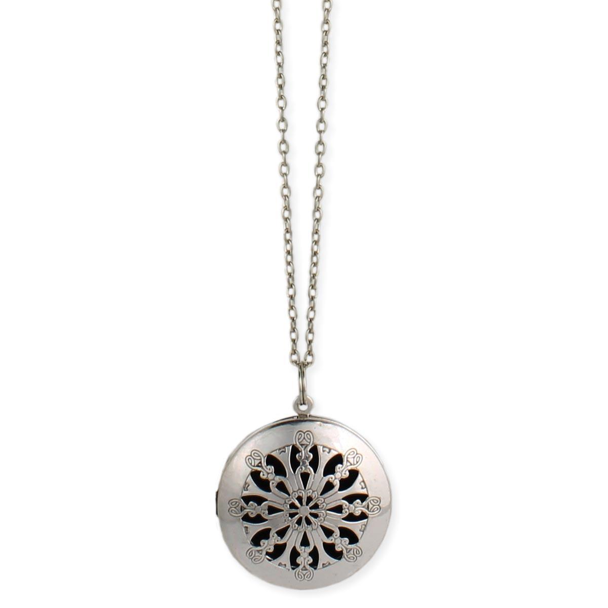Wholesale silver cutout diffuser locket long necklace zad fashion silver cutout essential oil diffuser locket long necklace aloadofball Choice Image