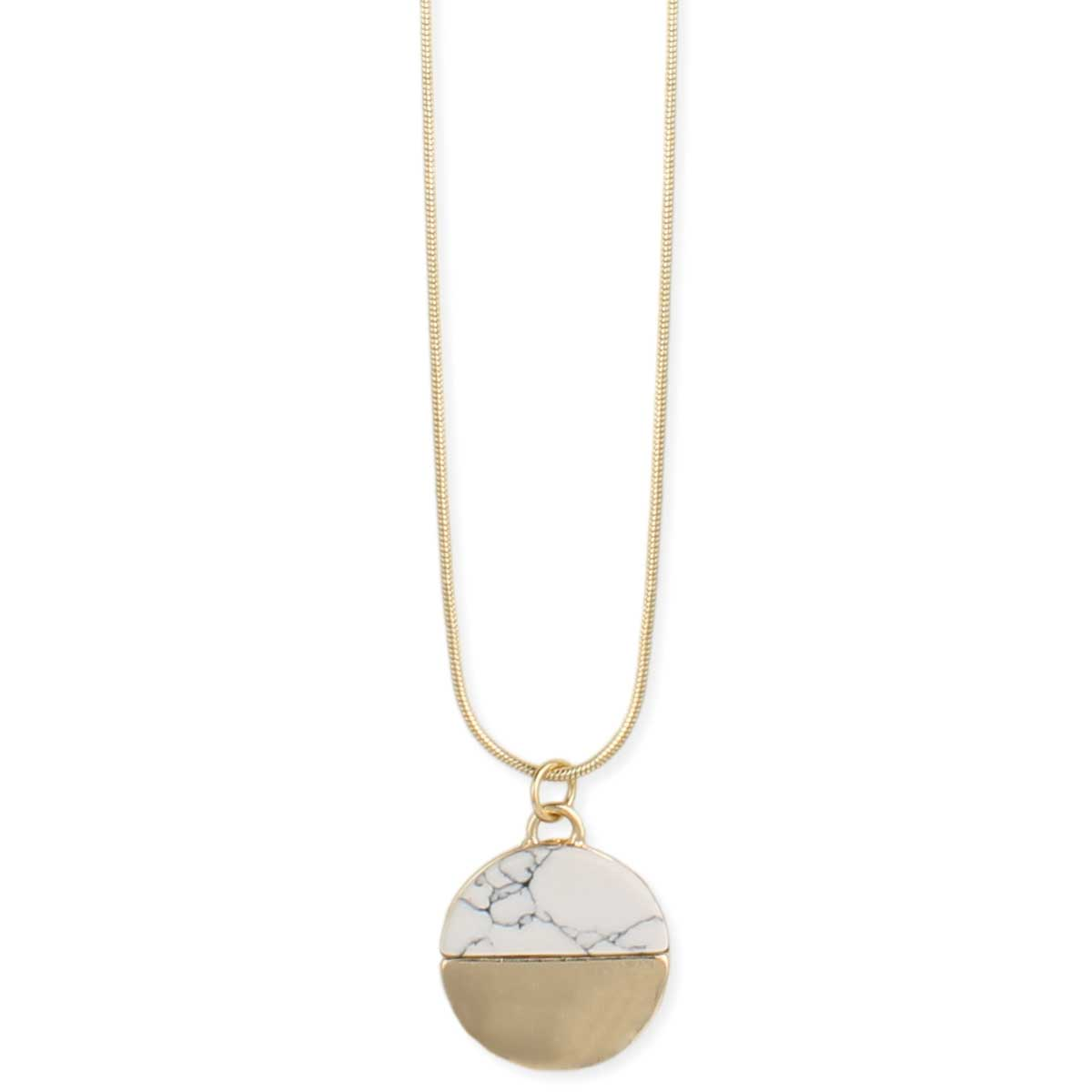 Round gold white howlite pendant necklace round gold white howlite pendant necklace view detailed images 2 aloadofball Images