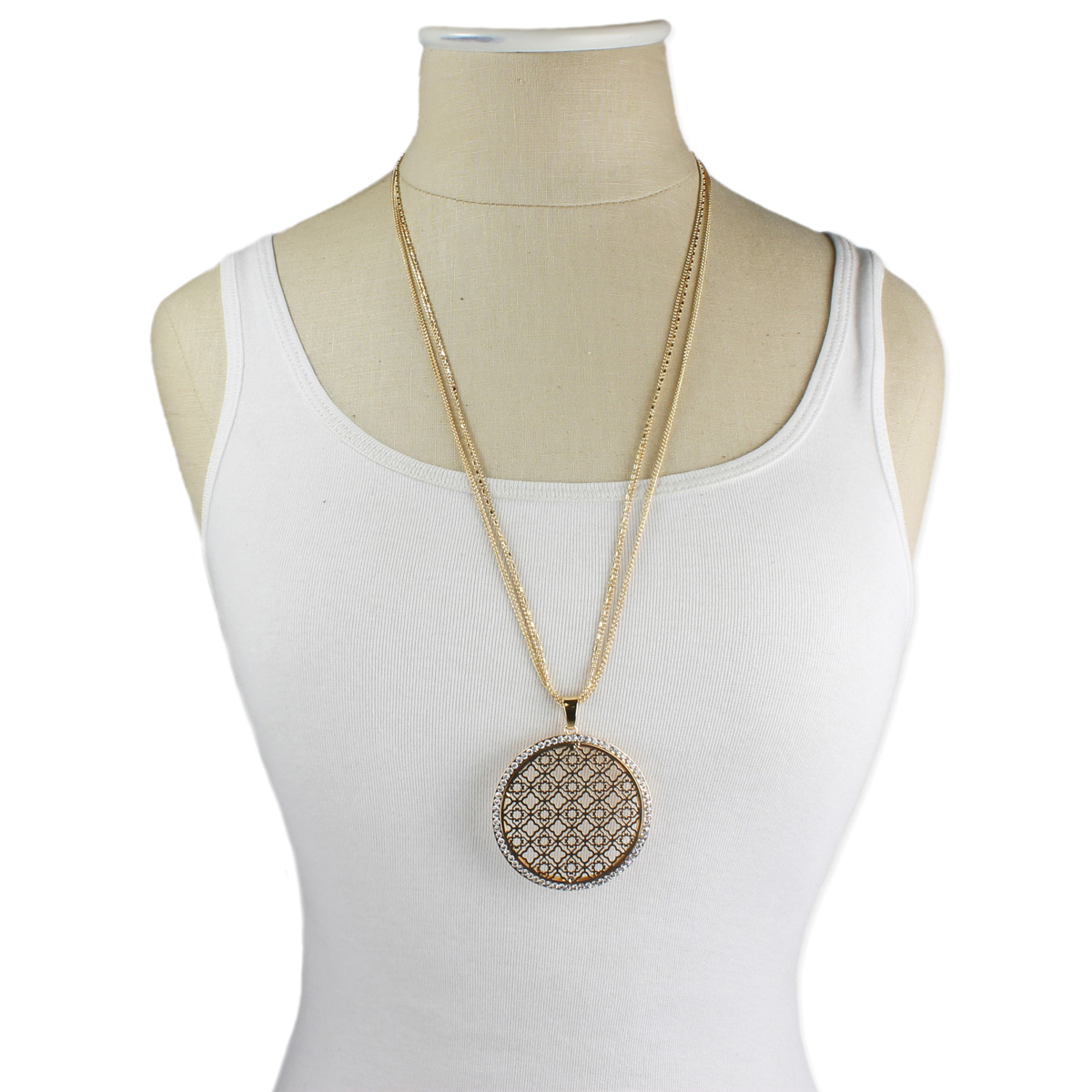 Round gold filigree pendant long necklace long gold cutout pendant necklace on dress form aloadofball Images