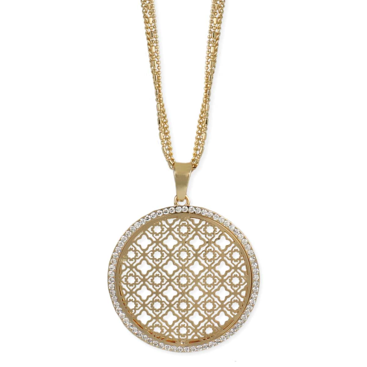 Round gold filigree pendant long necklace view detailed images 2 mozeypictures Images