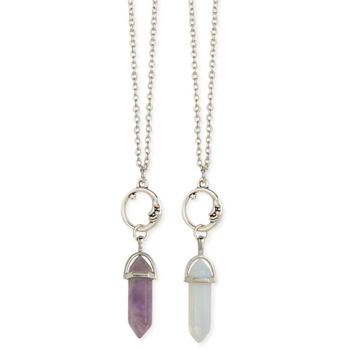 Silver Moon Crystal Drop Necklace