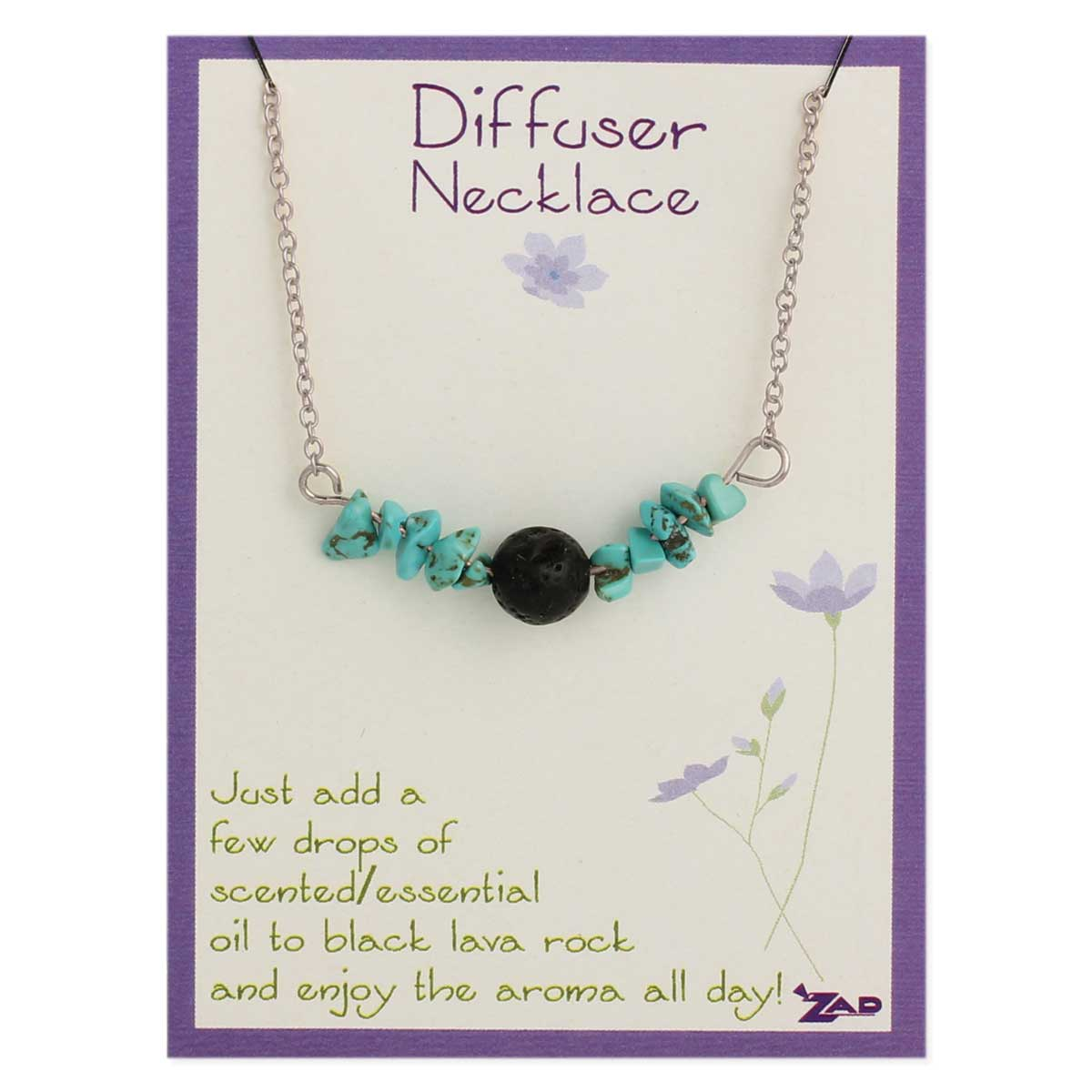 Carded Silver Turquoise & Lava Bead Diffuser Necklace