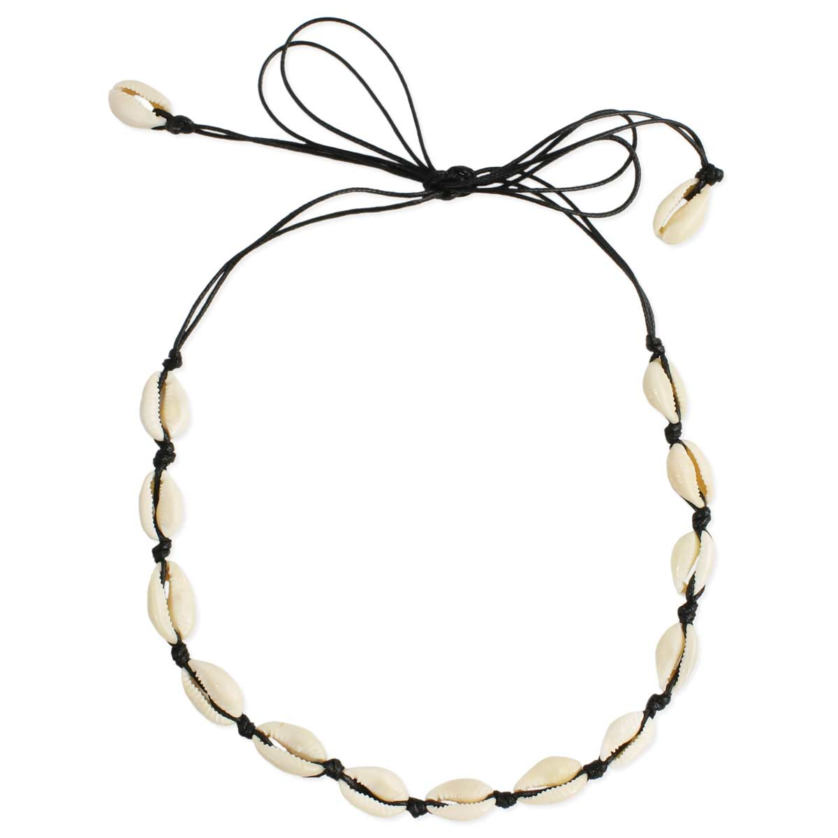 Black Cord cowry shell choker necklace