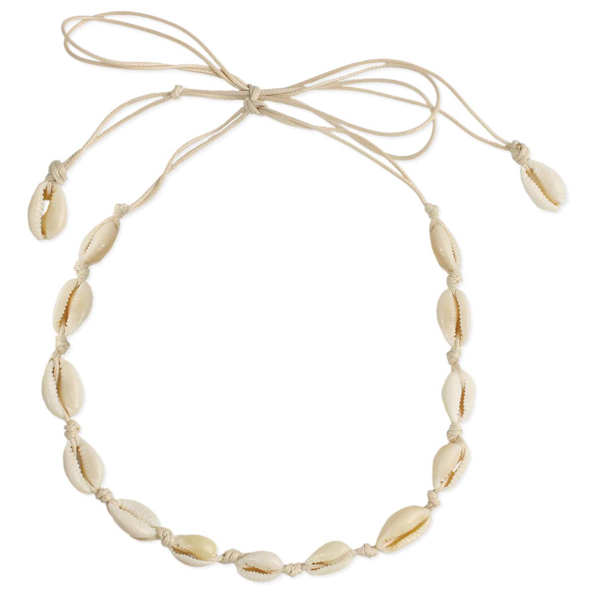 Tan cord cowry shell choker necklace