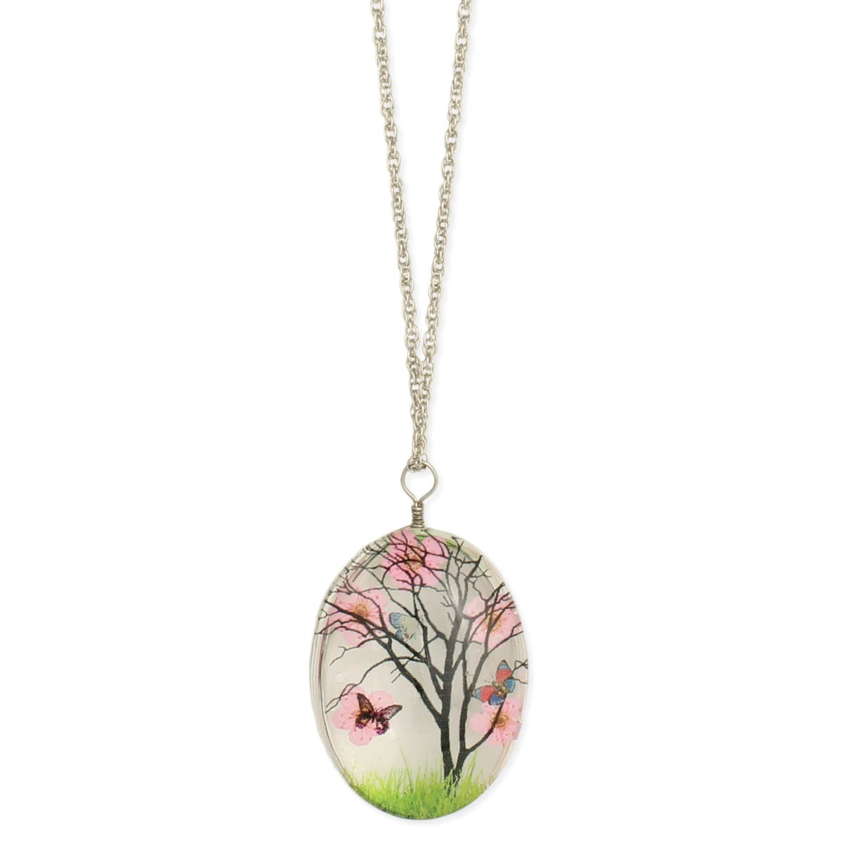 Oval Clear Dried Pink Flower Resin Pendants