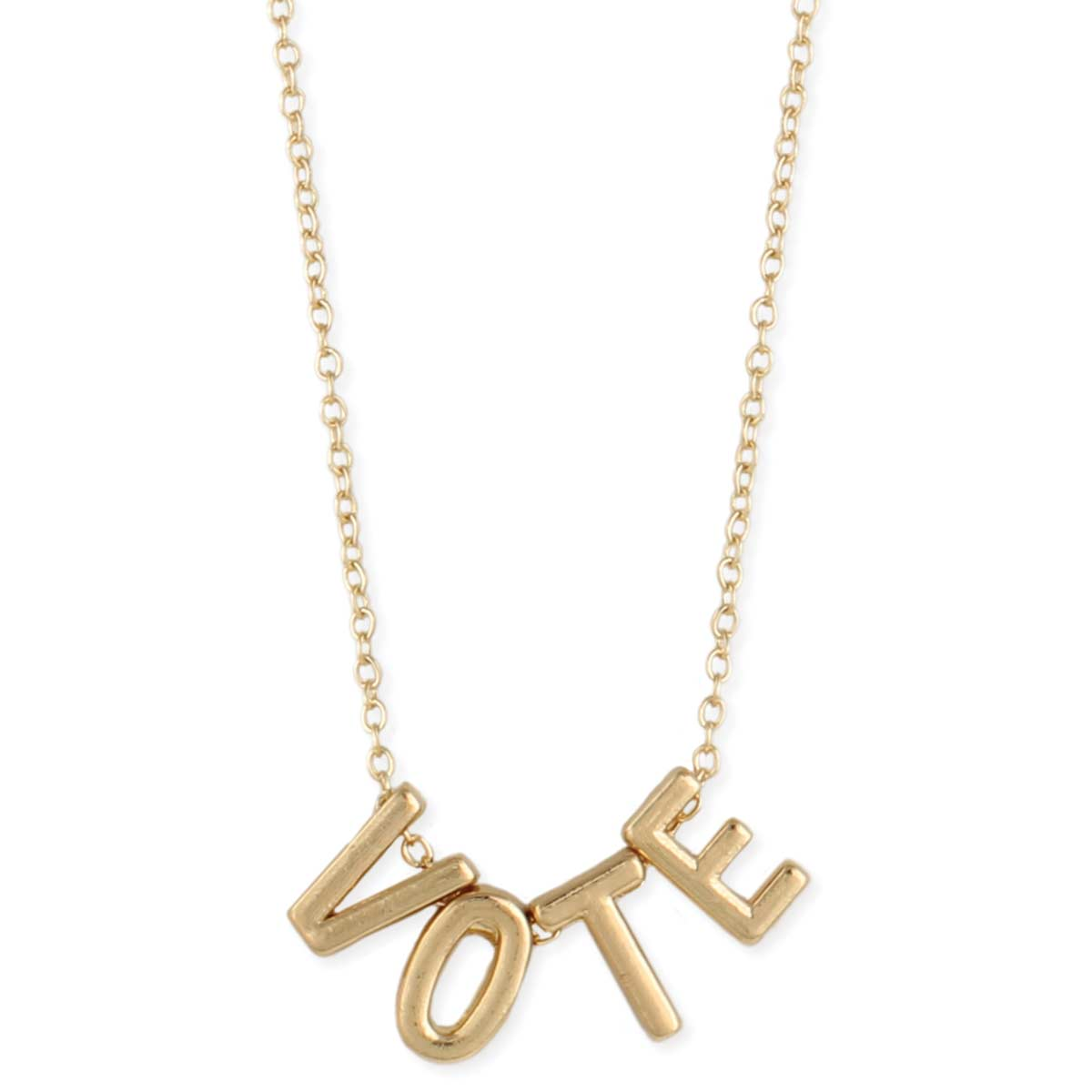 Gold Letter Vote Word Necklace