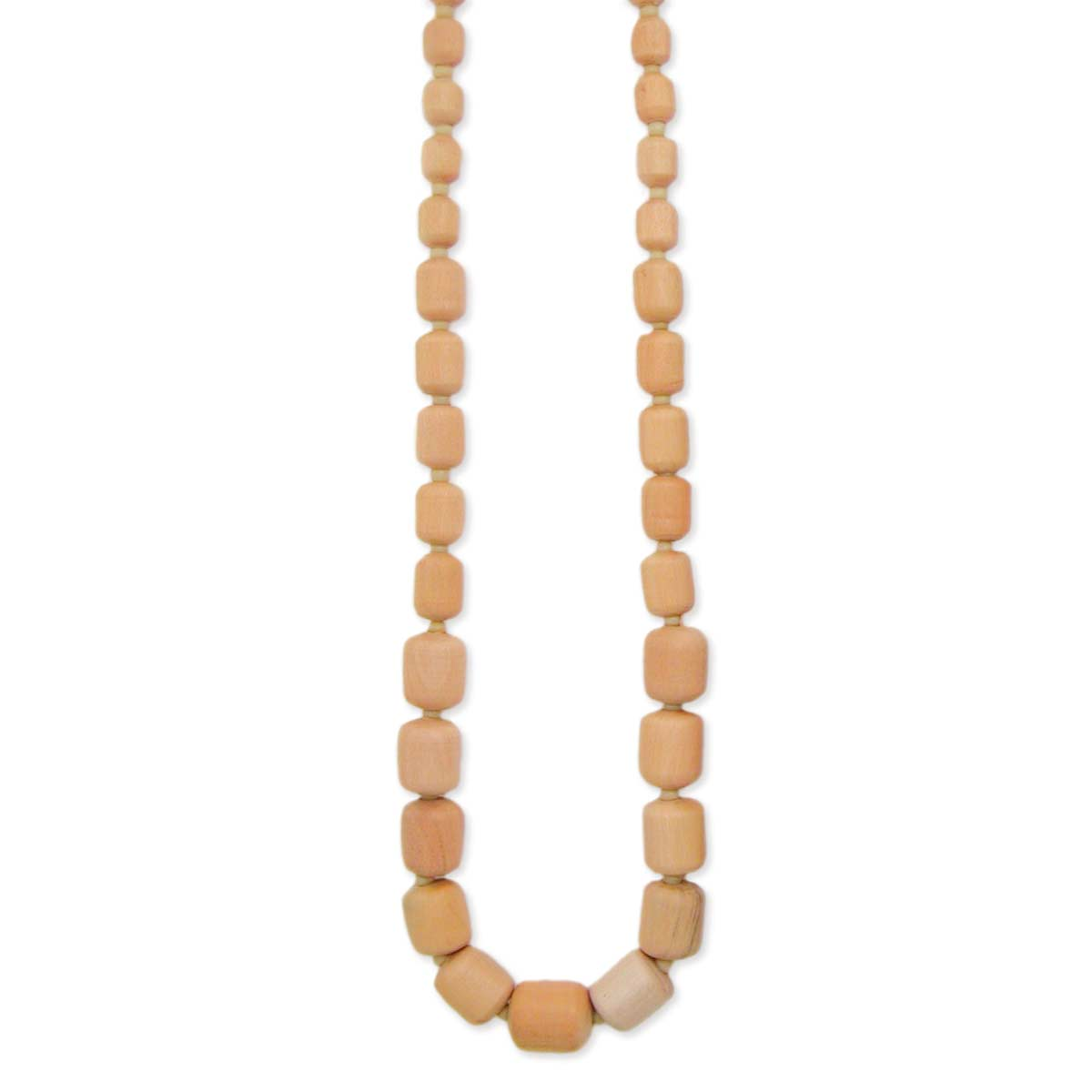 Light Wood Bead Long Necklace