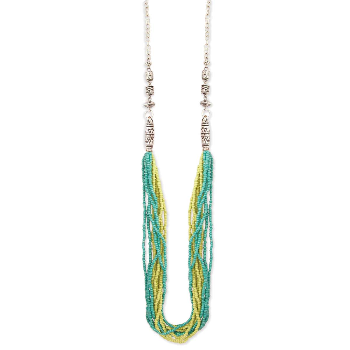Multi Line Sivler & Green Seed Bead Necklace
