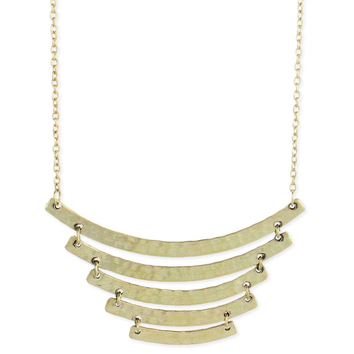 Gold Hammered Curved Bar Bib Necklace