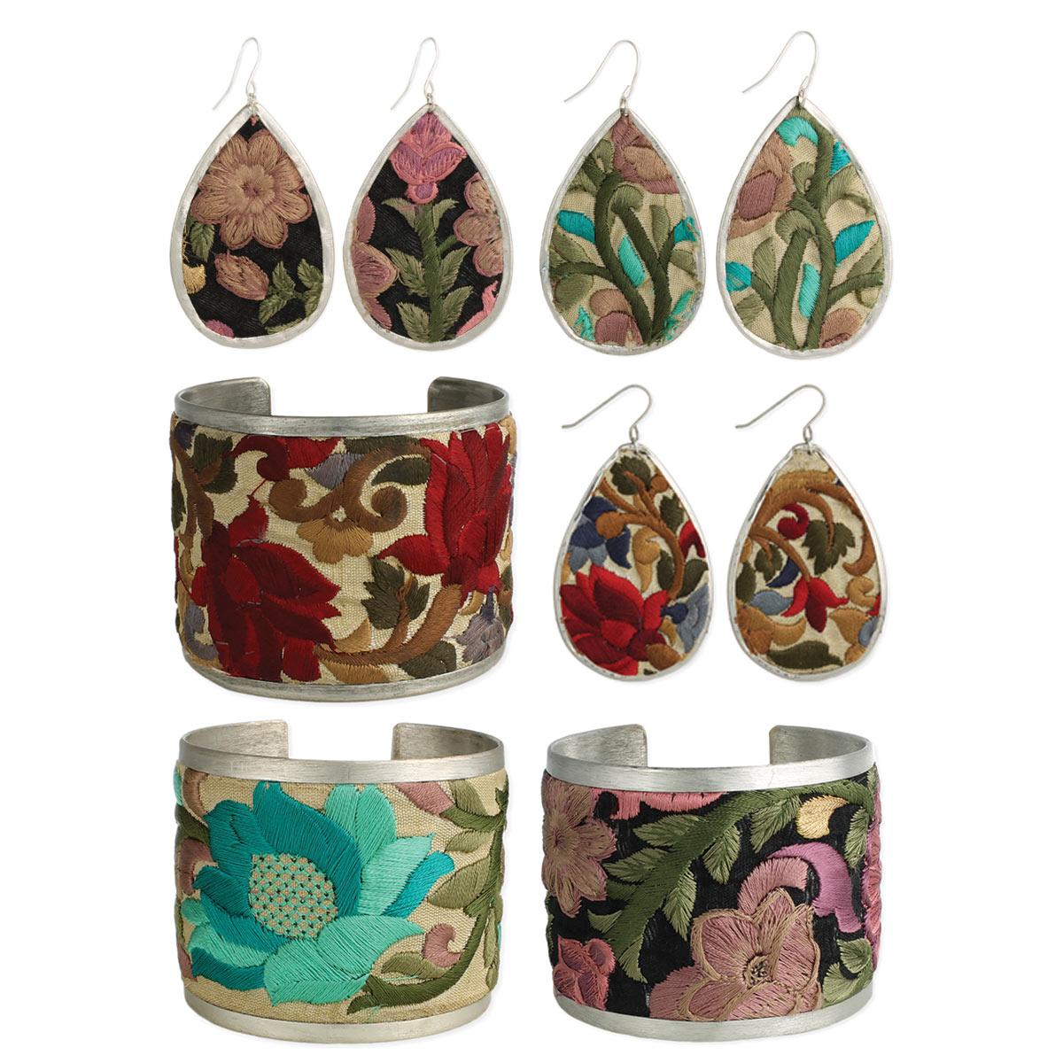 Embroidred Earring & Cuff Bracelet Set