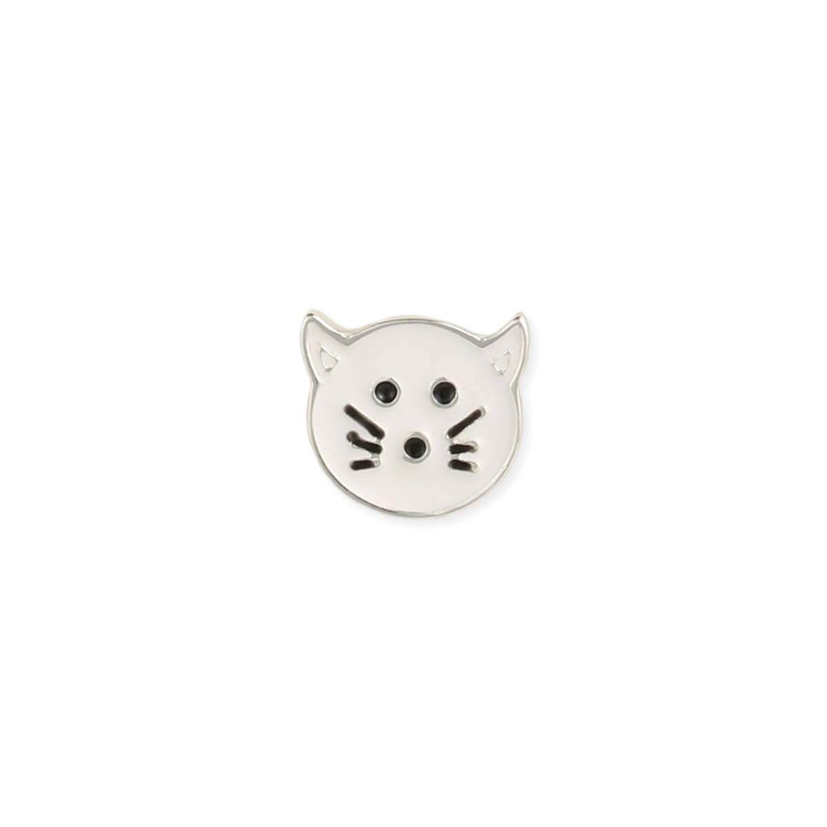 White Cat Face Post Earring