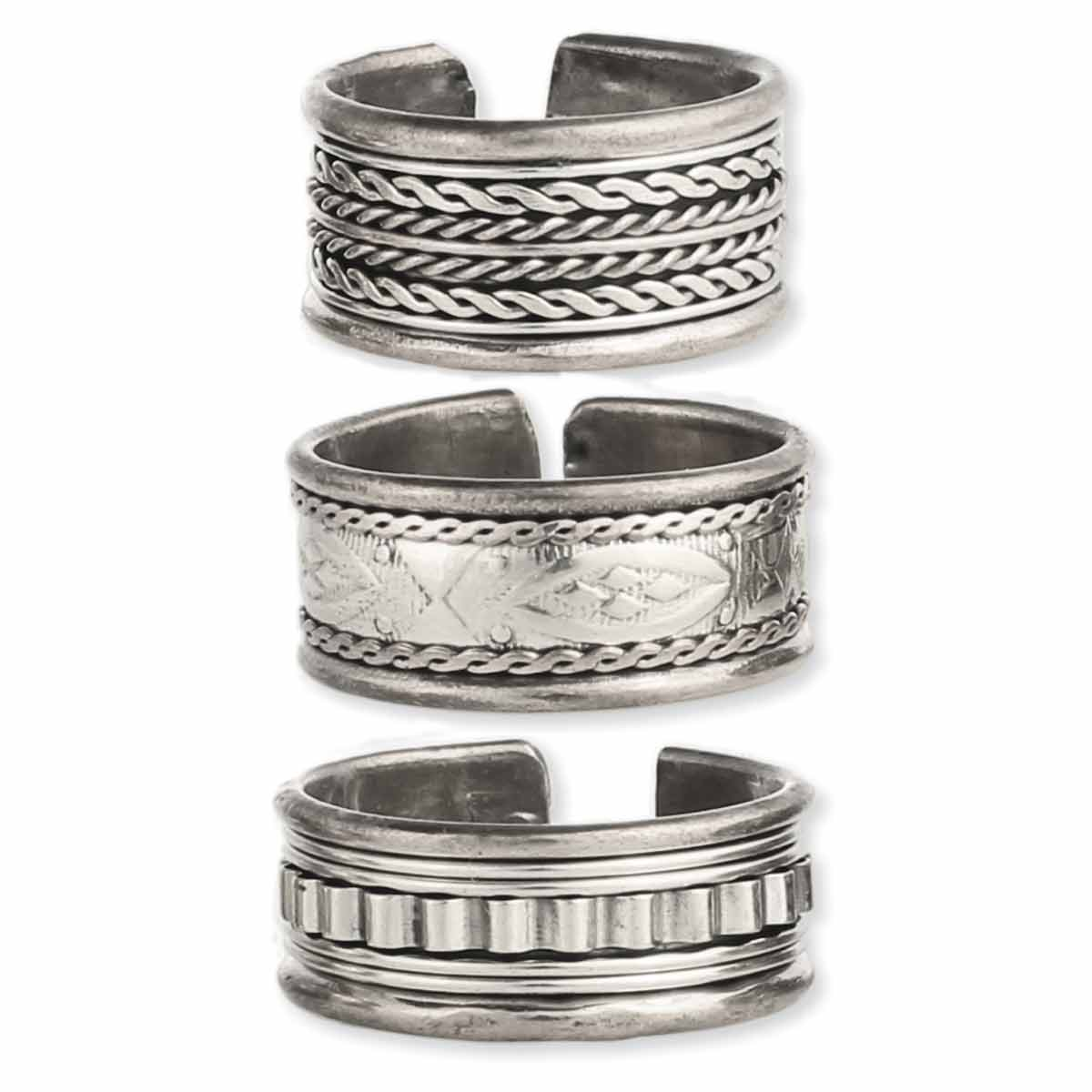 Silver band men's ring