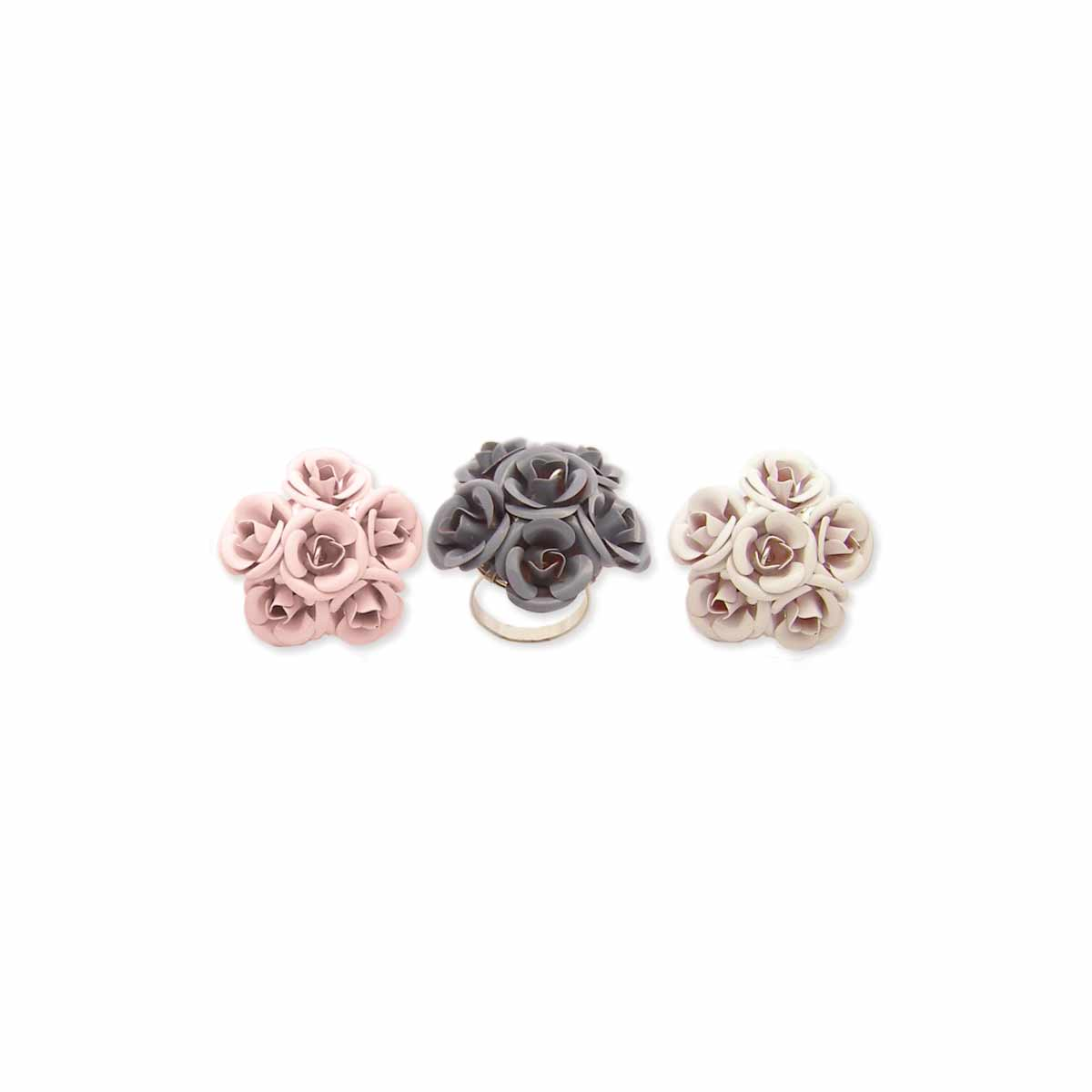 Enamel Rose Adjustable Ring