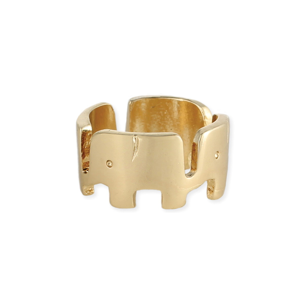 Gold Linked Elephants Band Ring