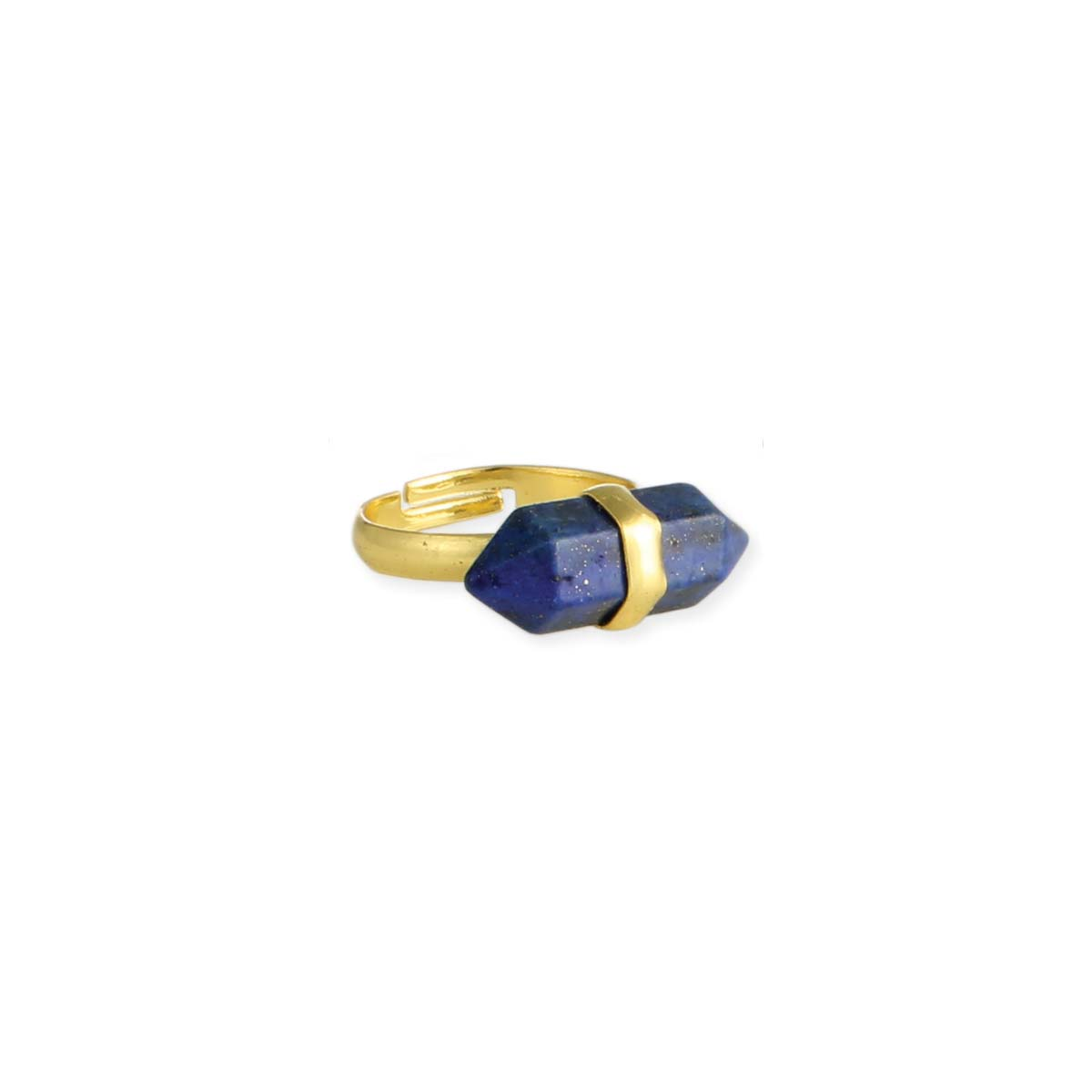 Blue Stone Bar Gold Ring