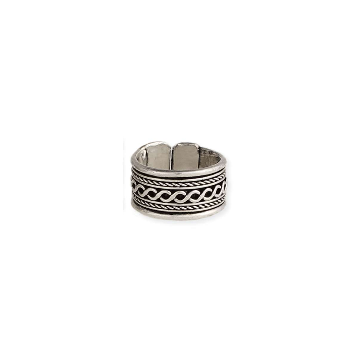 Wide Silver Band Ethnic Design Ring