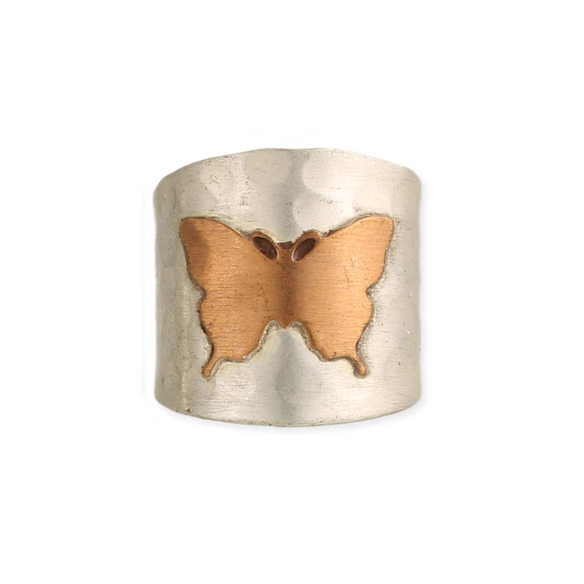 Silver & Copper Butterfly Ring