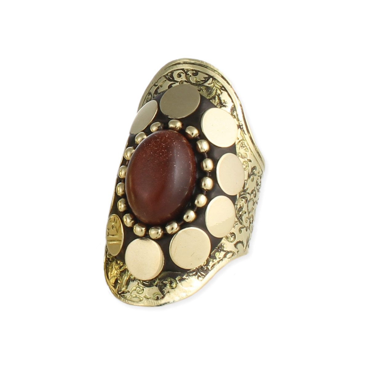 Wide Gold Ethnic Stone Ring