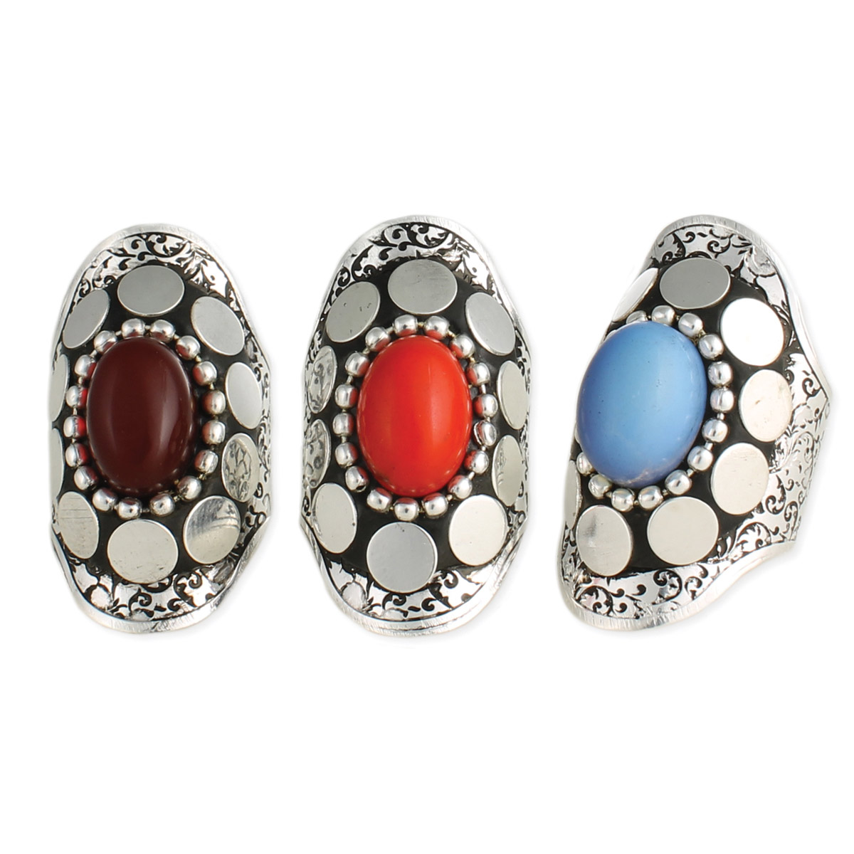 Wide Silver Ethnic Stone Ring