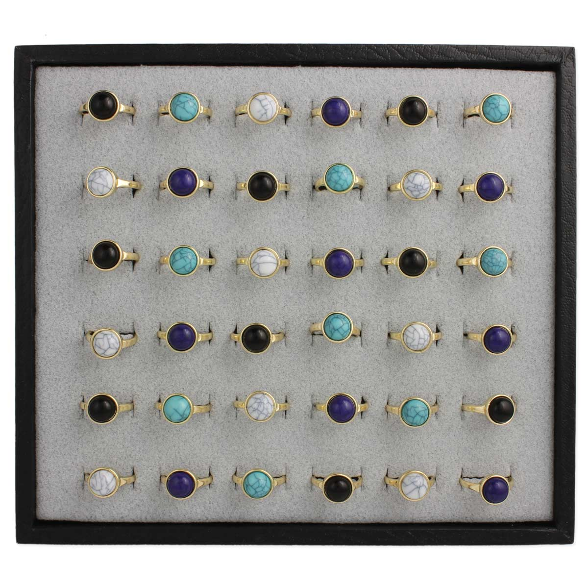 Gold & Stone Rings in Ring Tray