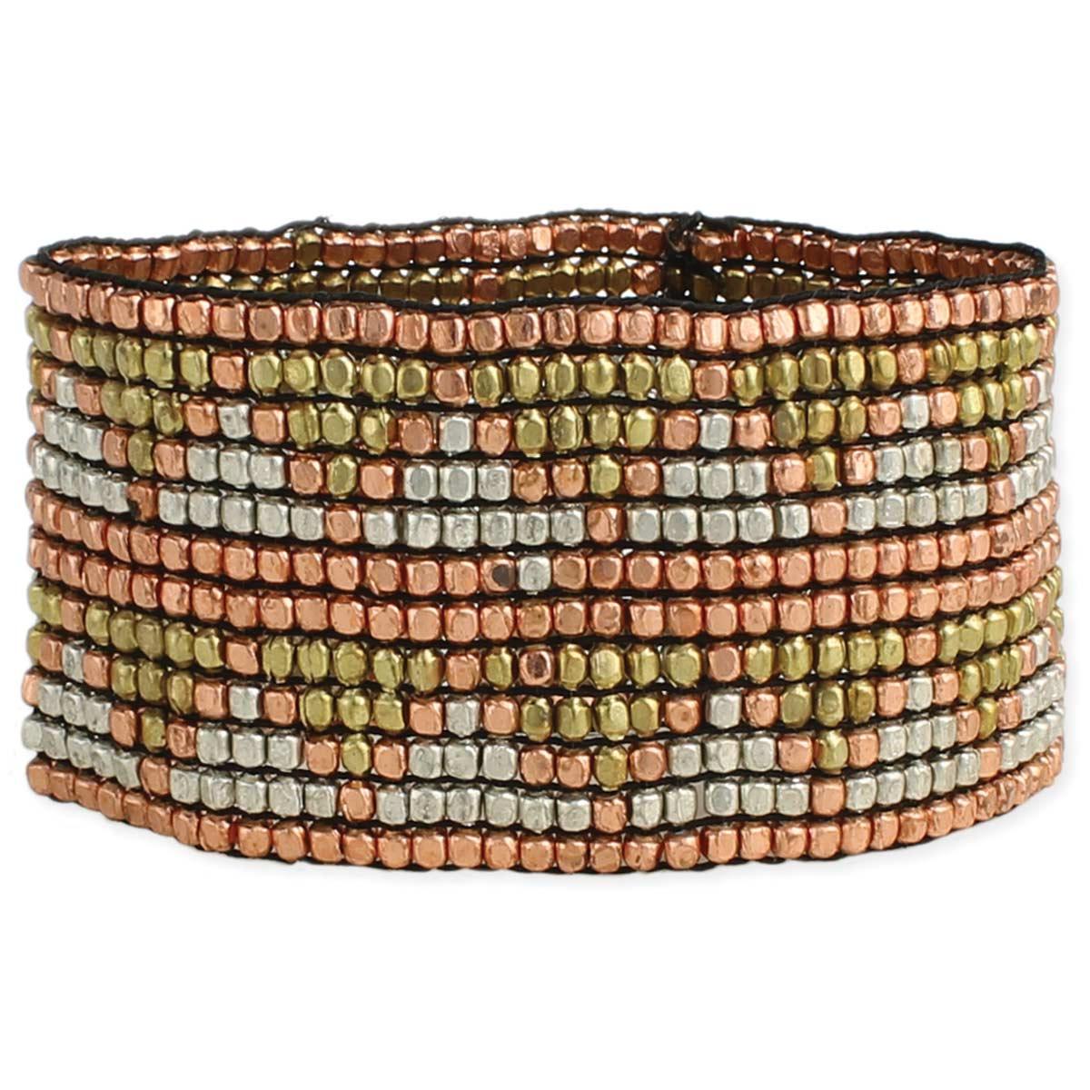 Mixed Metal Chevron Design Bracelet