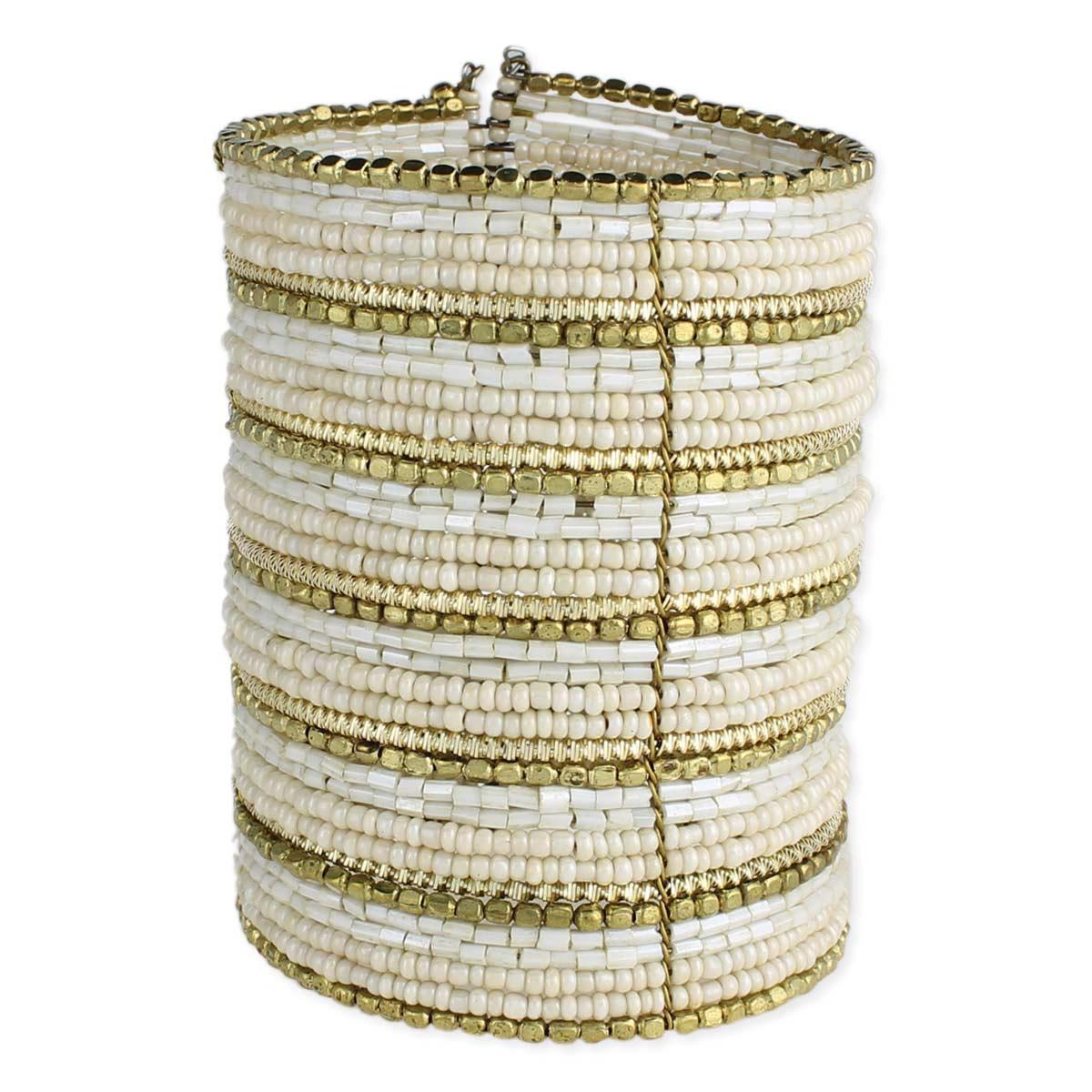Cream & White Beaded Cuff Bracelet