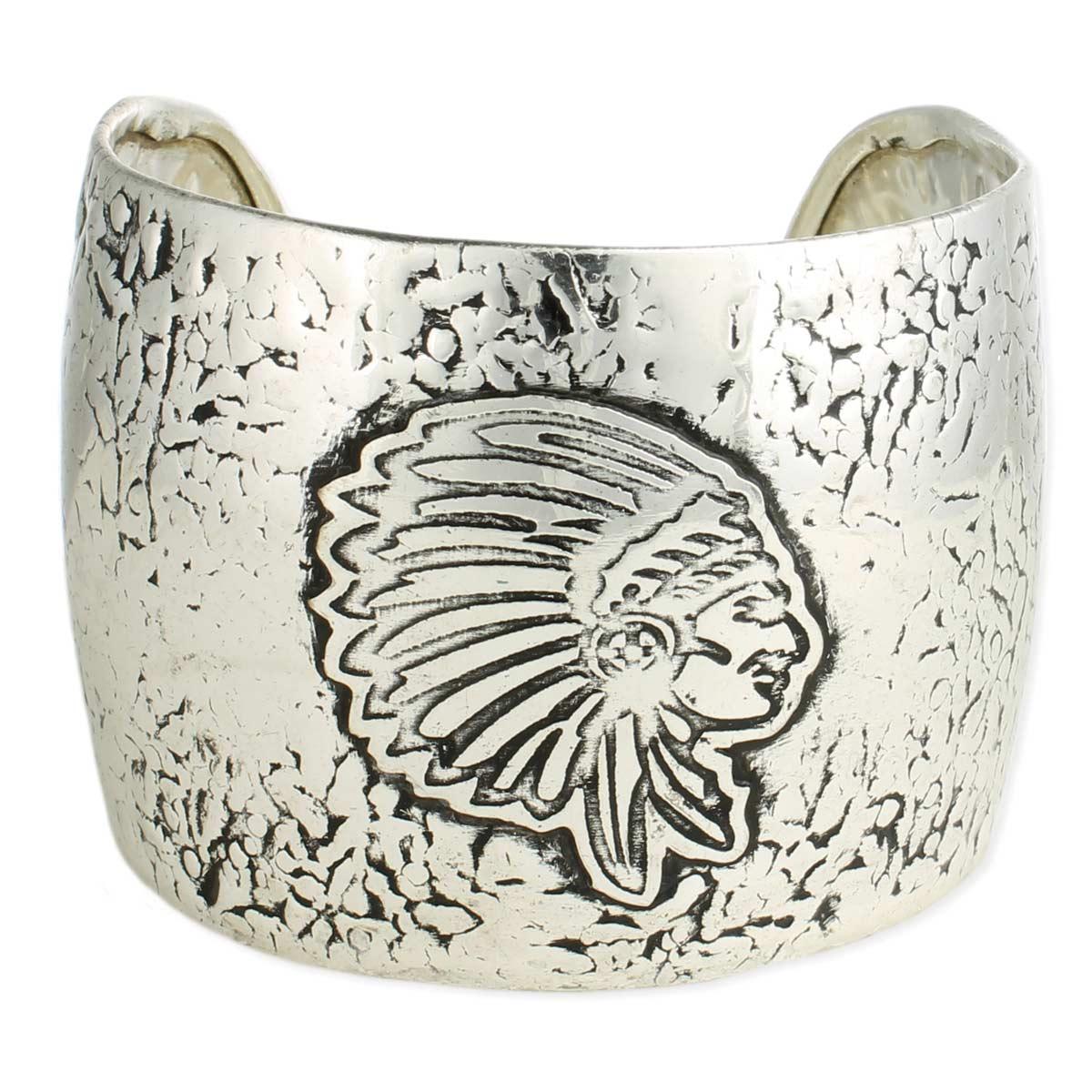 Silver Indian Head Cuff Bracelet