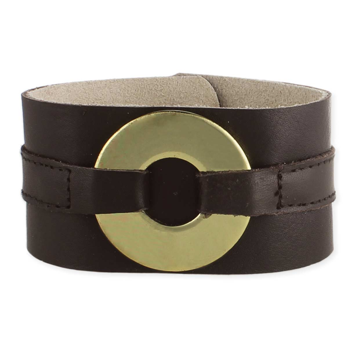 Brown Leather Gold Circle Bracelet
