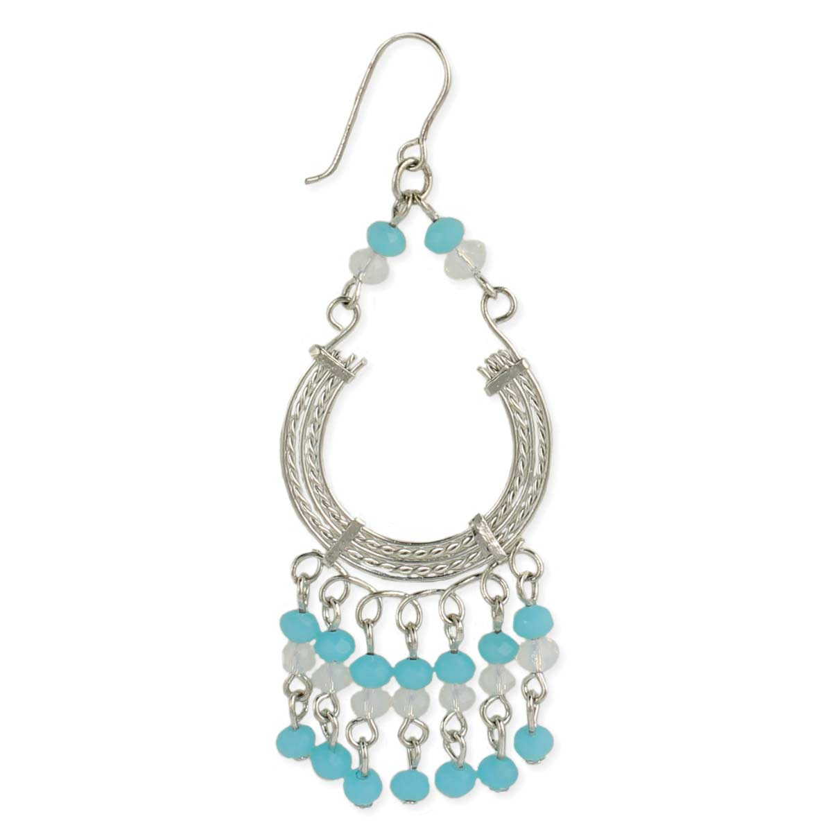Silver & Turquoise Bead Dangle Earring