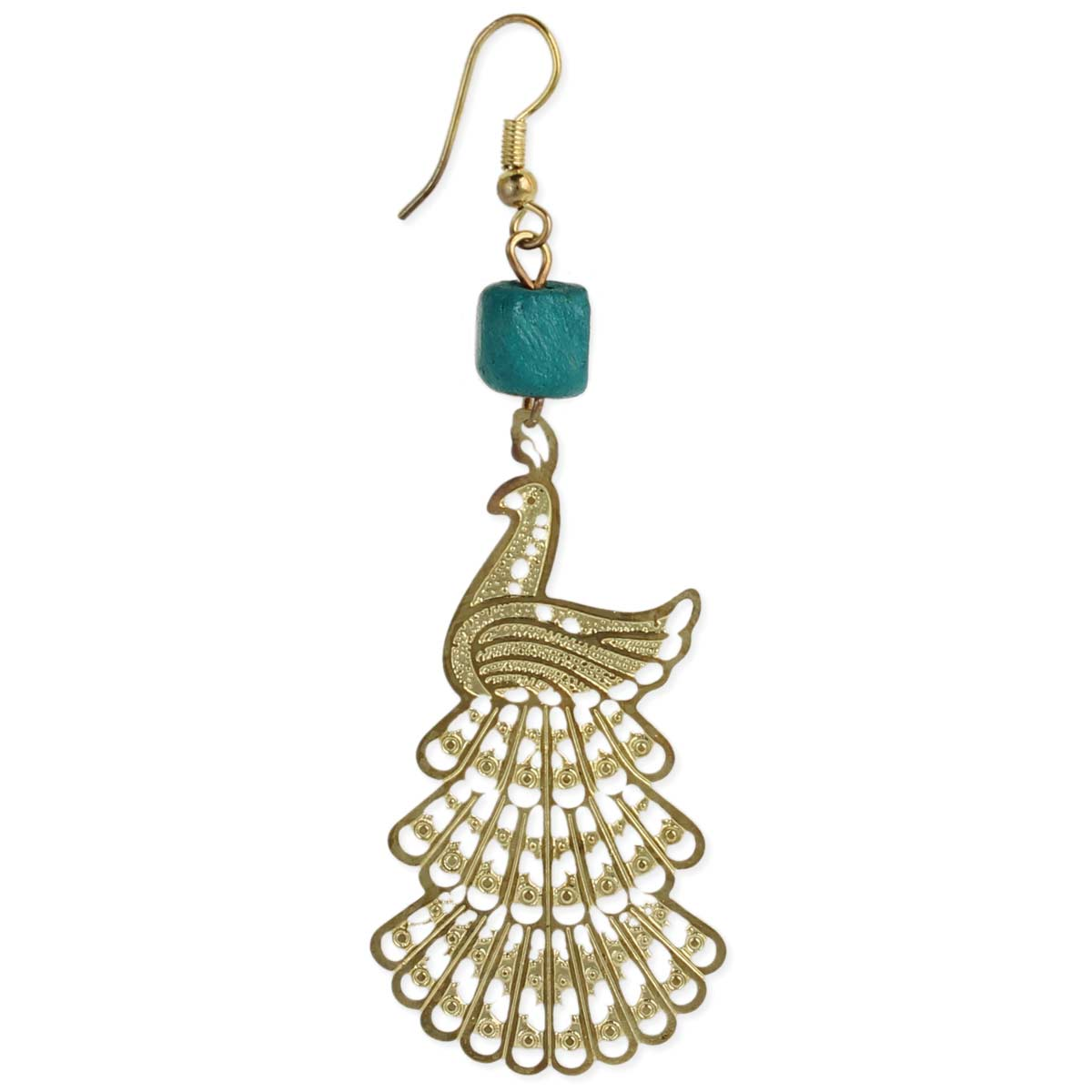 Gold Laser Cut Peacock Earring